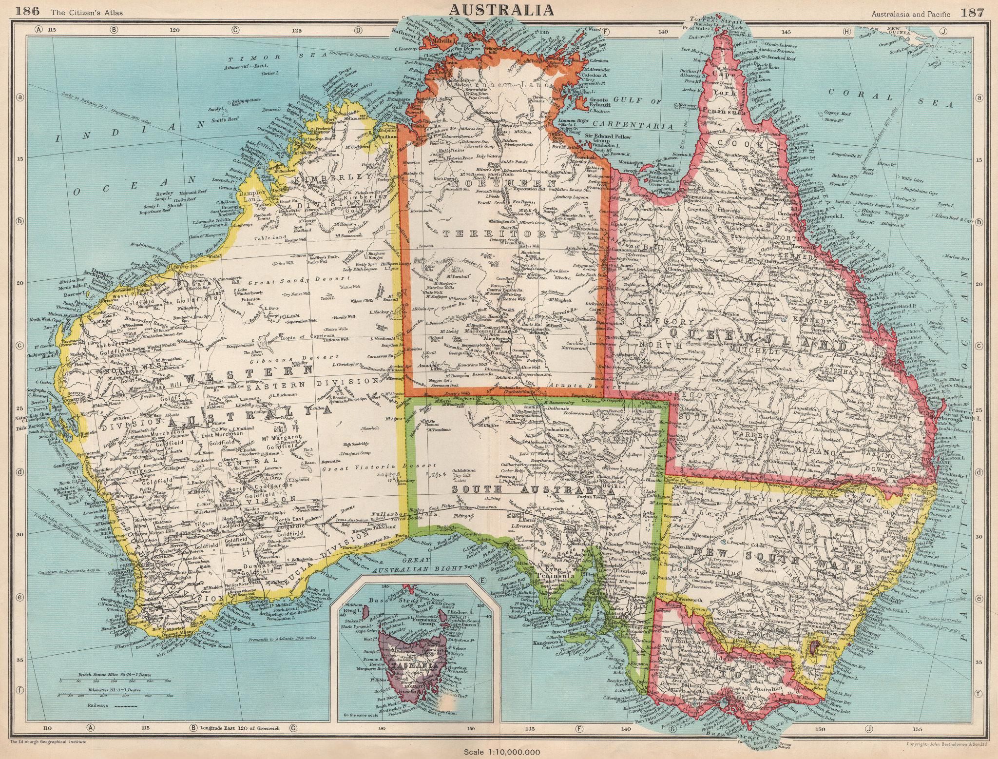 Associate Product AUSTRALIA. Showing states and railways. BARTHOLOMEW 1952 old vintage map chart