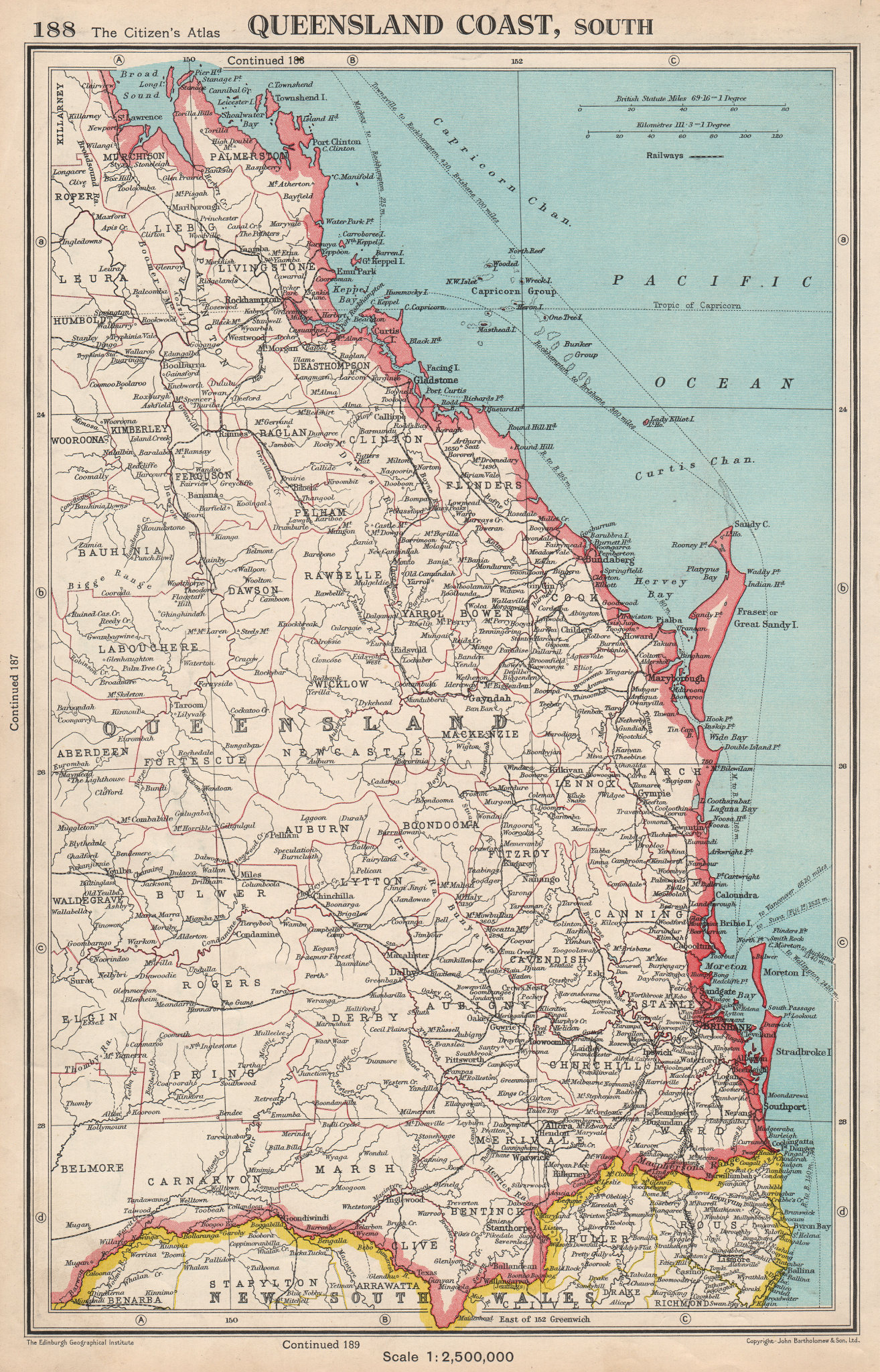 Associate Product QUEENSLAND COAST, SOUTH. showing counties. BARTHOLOMEW 1952 old vintage map