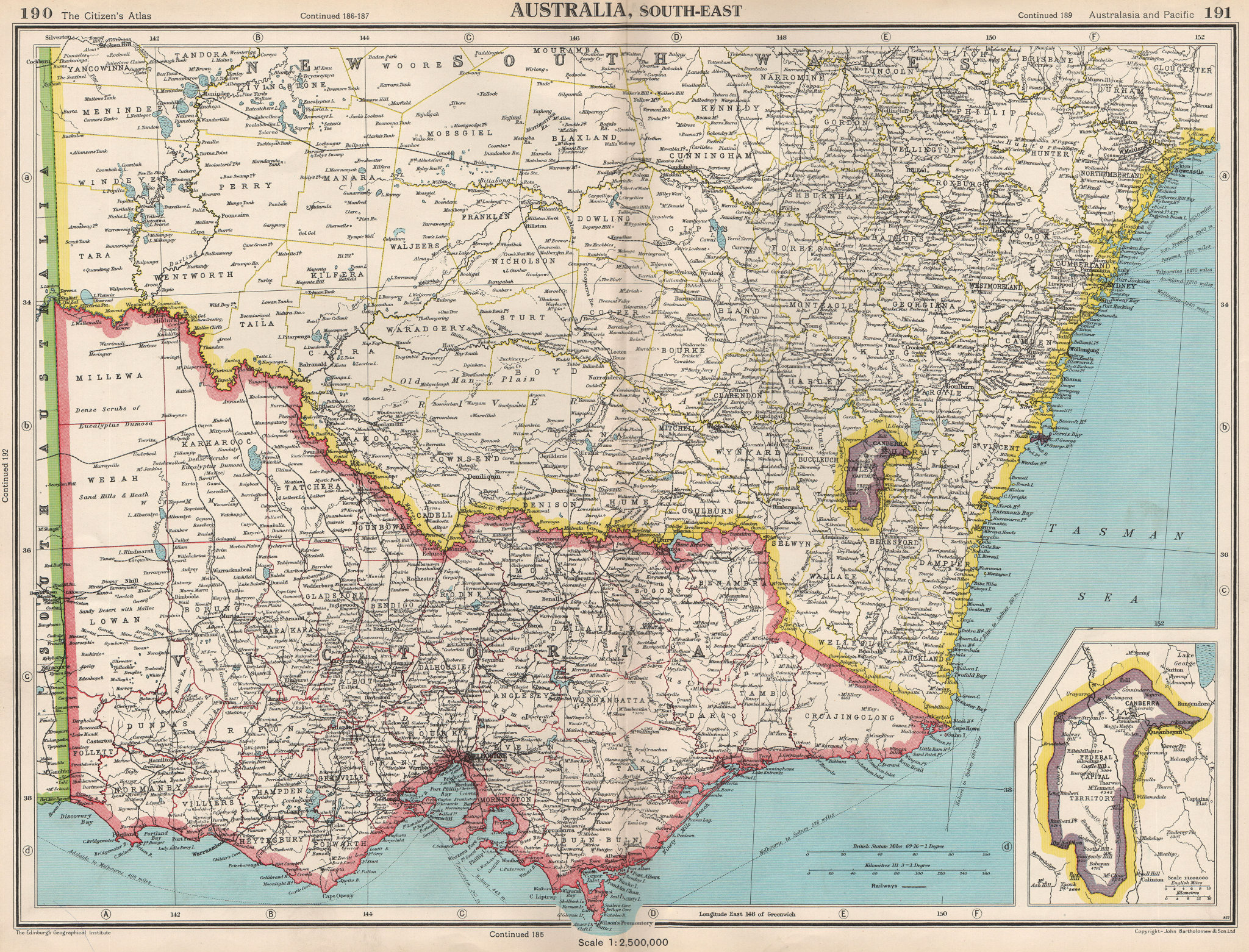Associate Product SOUTH-EAST AUSTRALIA.Victoria NSW Federal Capital Territory Jervis Bay 1952 map