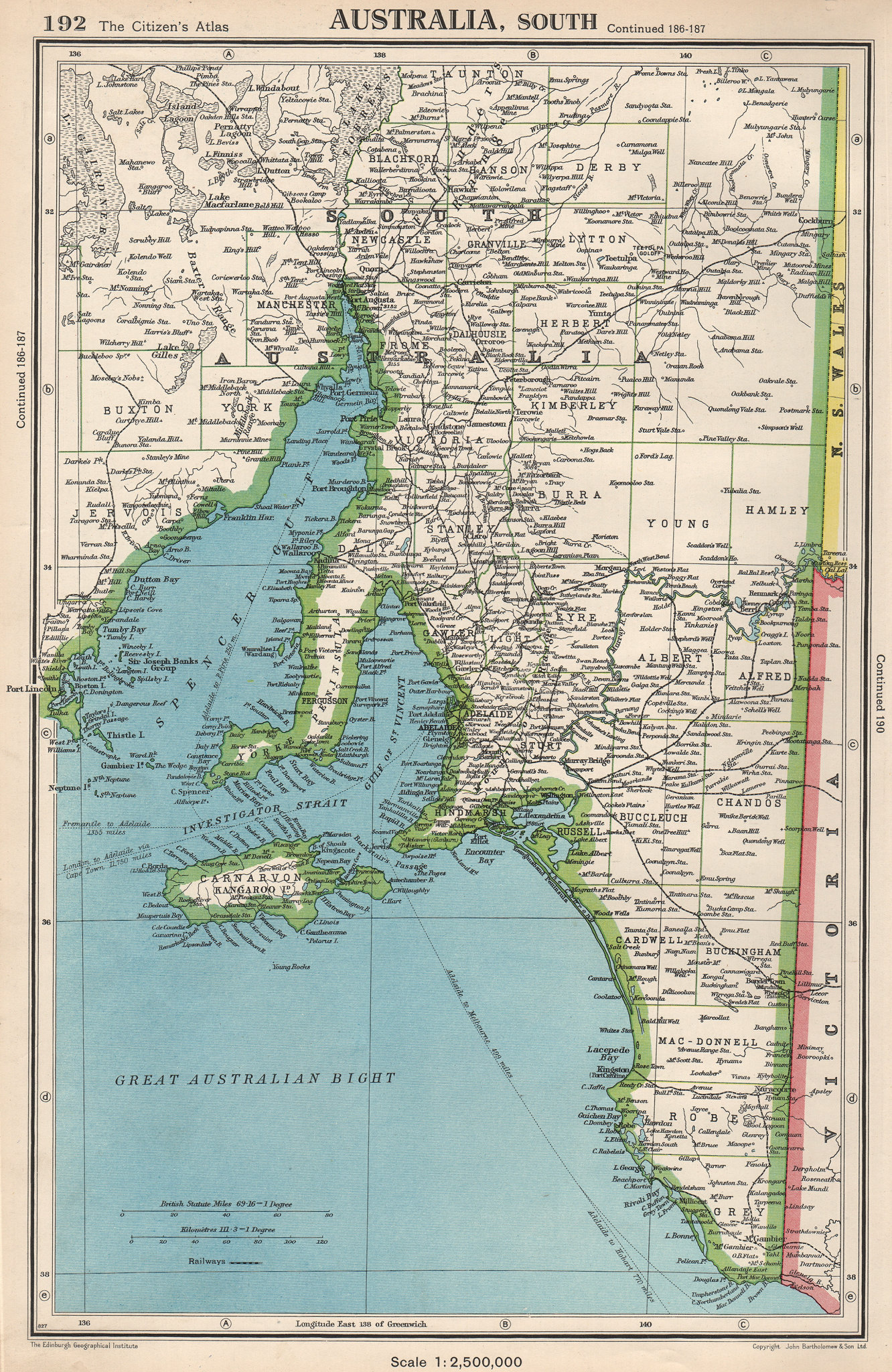 Associate Product SOUTH AUSTRALIA.showing counties.Spencer Gulf of St Vincent.BARTHOLOMEW 1952 map