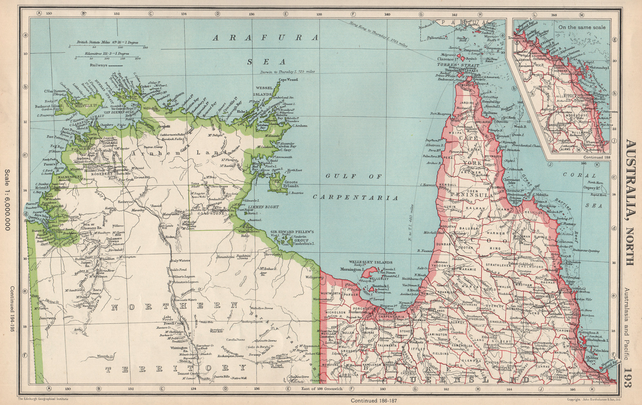 Associate Product NORTHERN AUSTRALIA. Cape York. Gulf of Carpentaria. Queensland NT 1952 old map