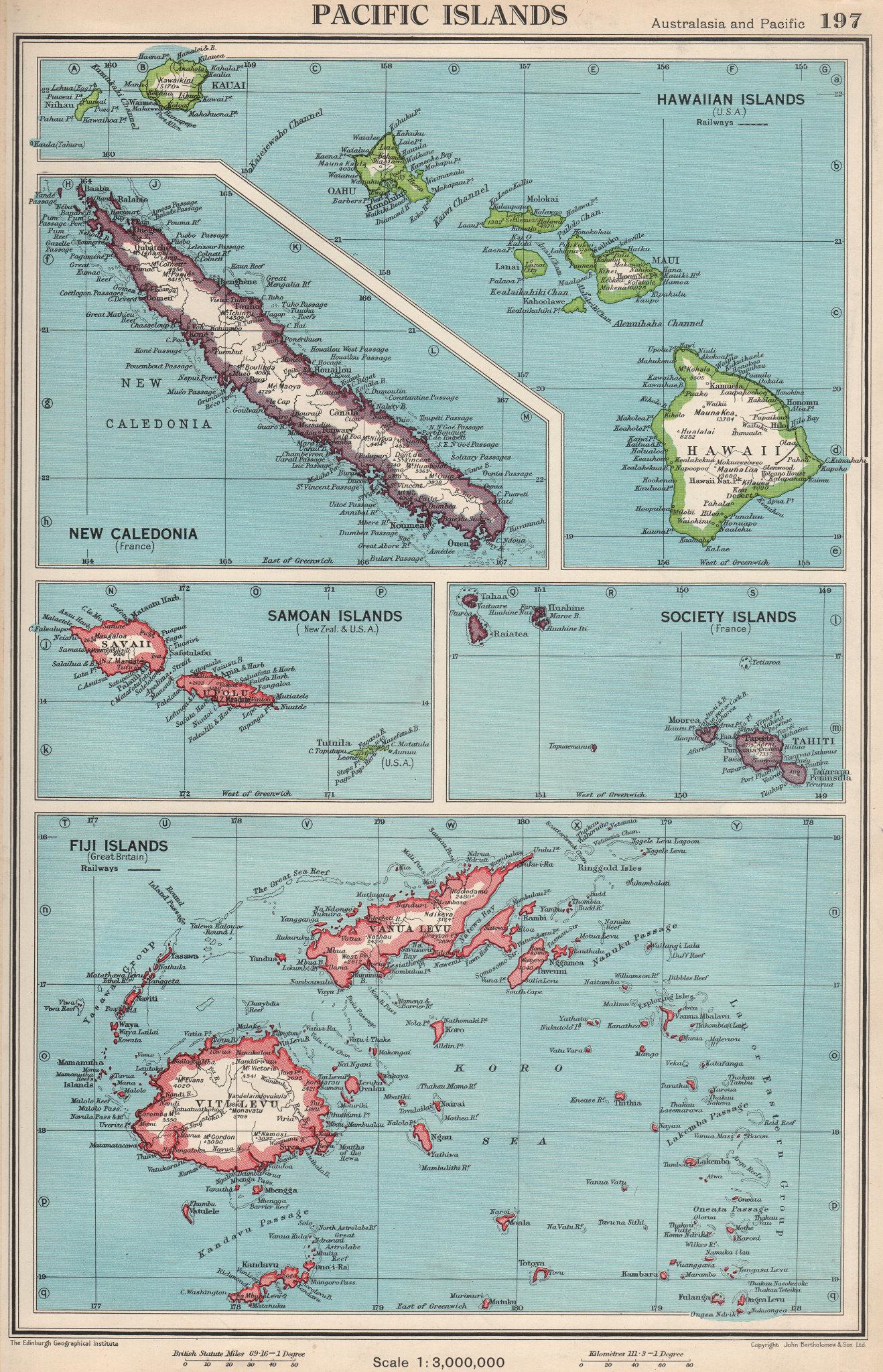 Associate Product PACIFIC ISLANDS. Hawaii Samoa Fiji New Caledonia Society Islands 1952 old map