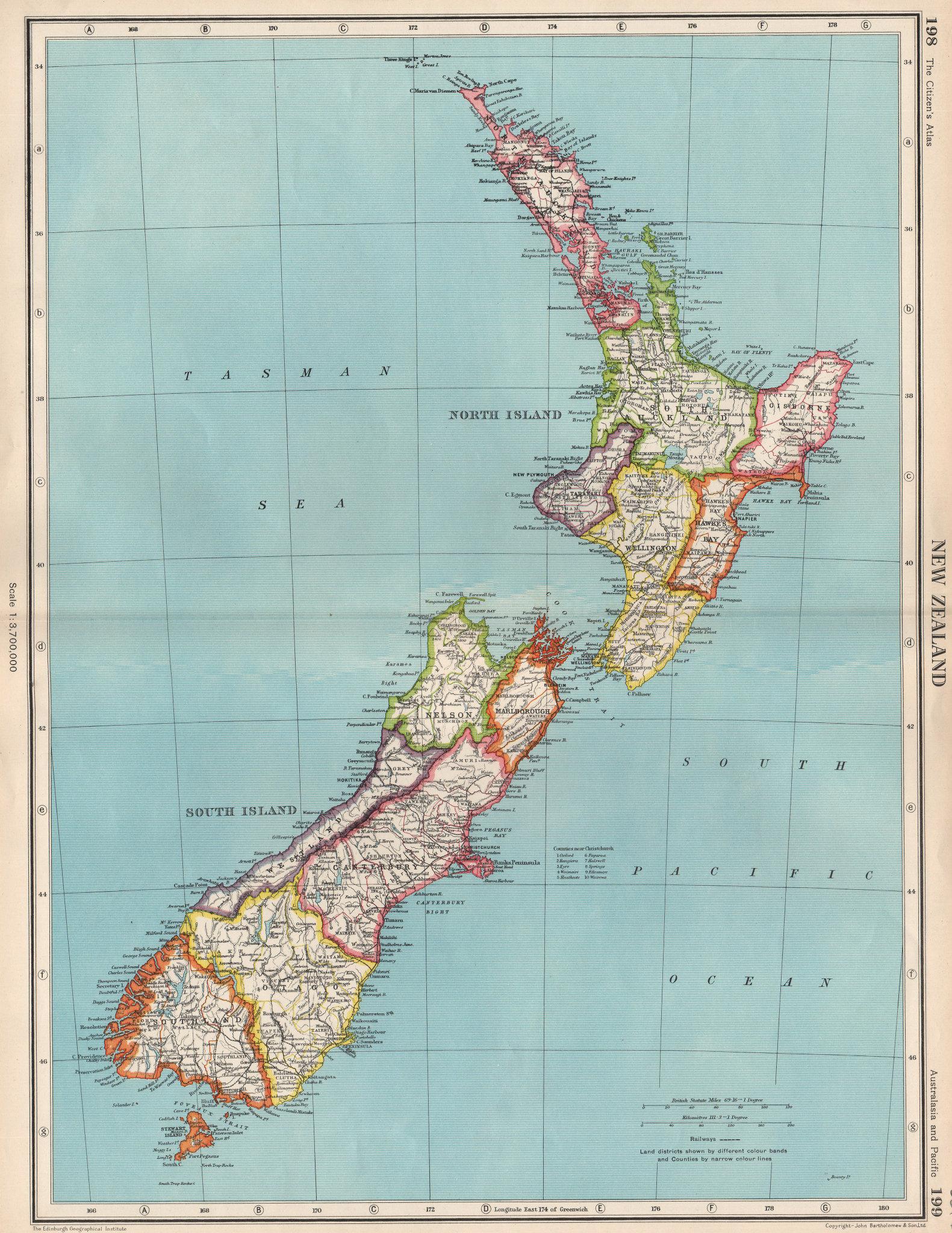 Associate Product NEW ZEALAND. Showing provinces. BARTHOLOMEW 1952 old vintage map plan chart