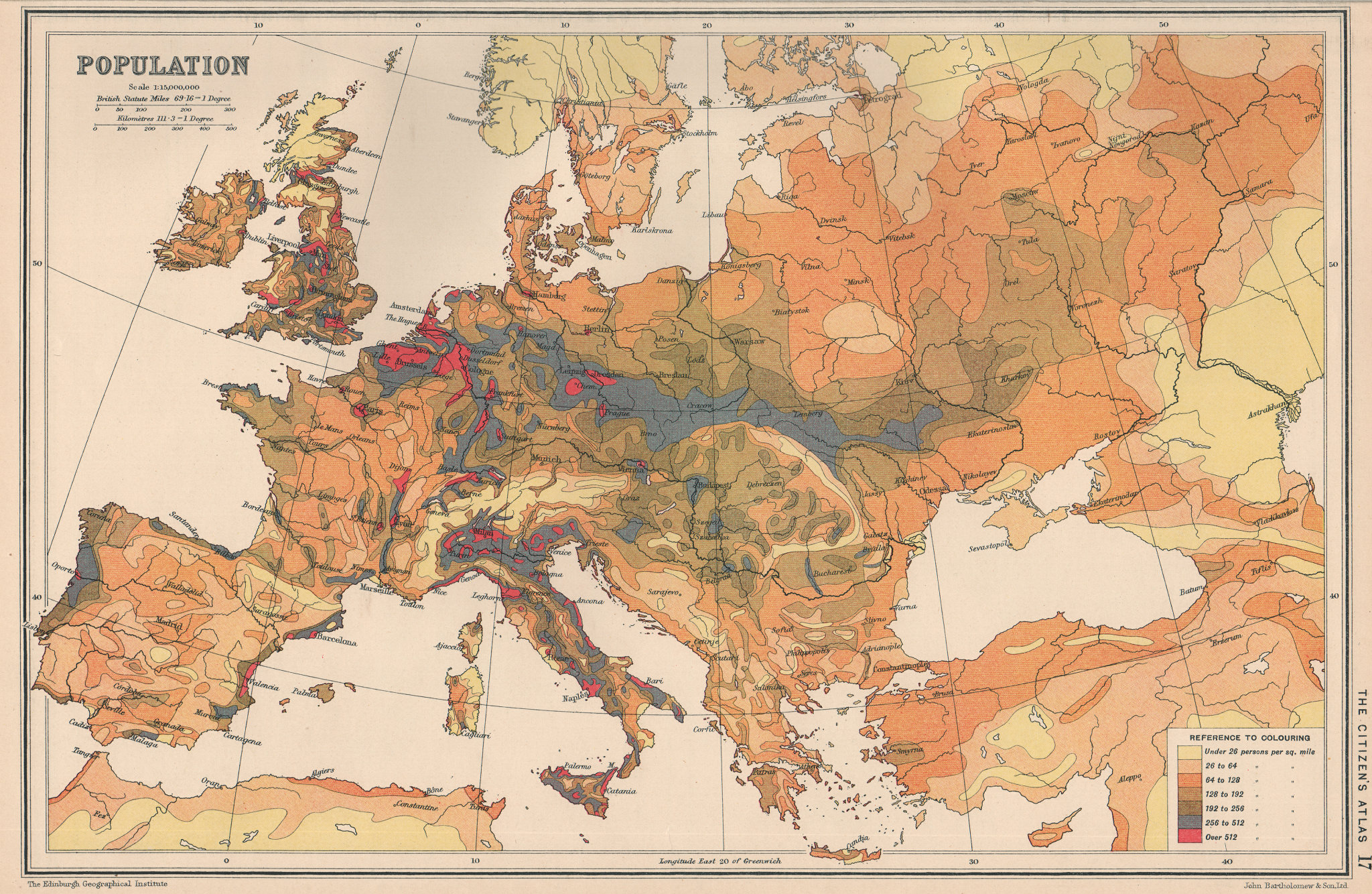 Associate Product EUROPE. Population density. BARTHOLOMEW 1924 old vintage map plan chart