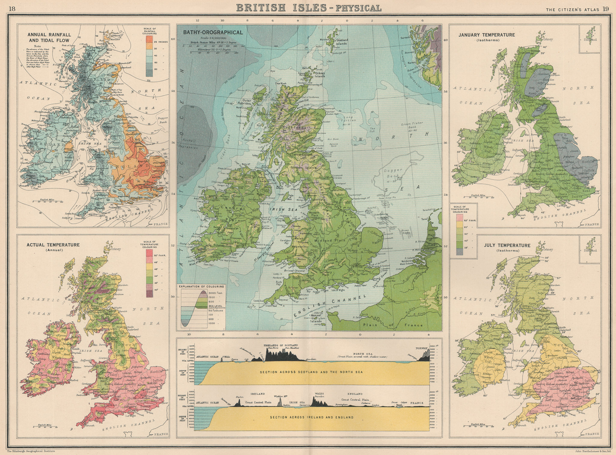 Associate Product BRITISH ISLES PHYSICAL CLIMATE.Sections.Scotland/Norway,Ireland/England 1924 map