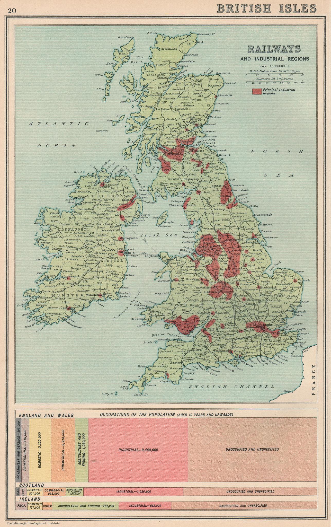 Associate Product BRITISH ISLES.Railways and Industrial Regions.Occupations.BARTHOLOMEW 1924 map