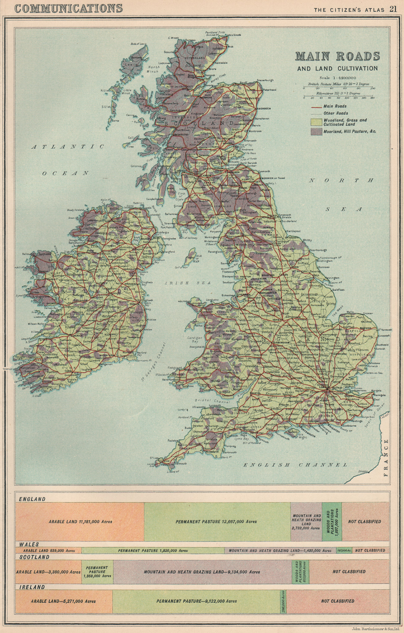 Associate Product BRITISH ISLES. Main Roads and Land cultivation/use. BARTHOLOMEW 1924 old map