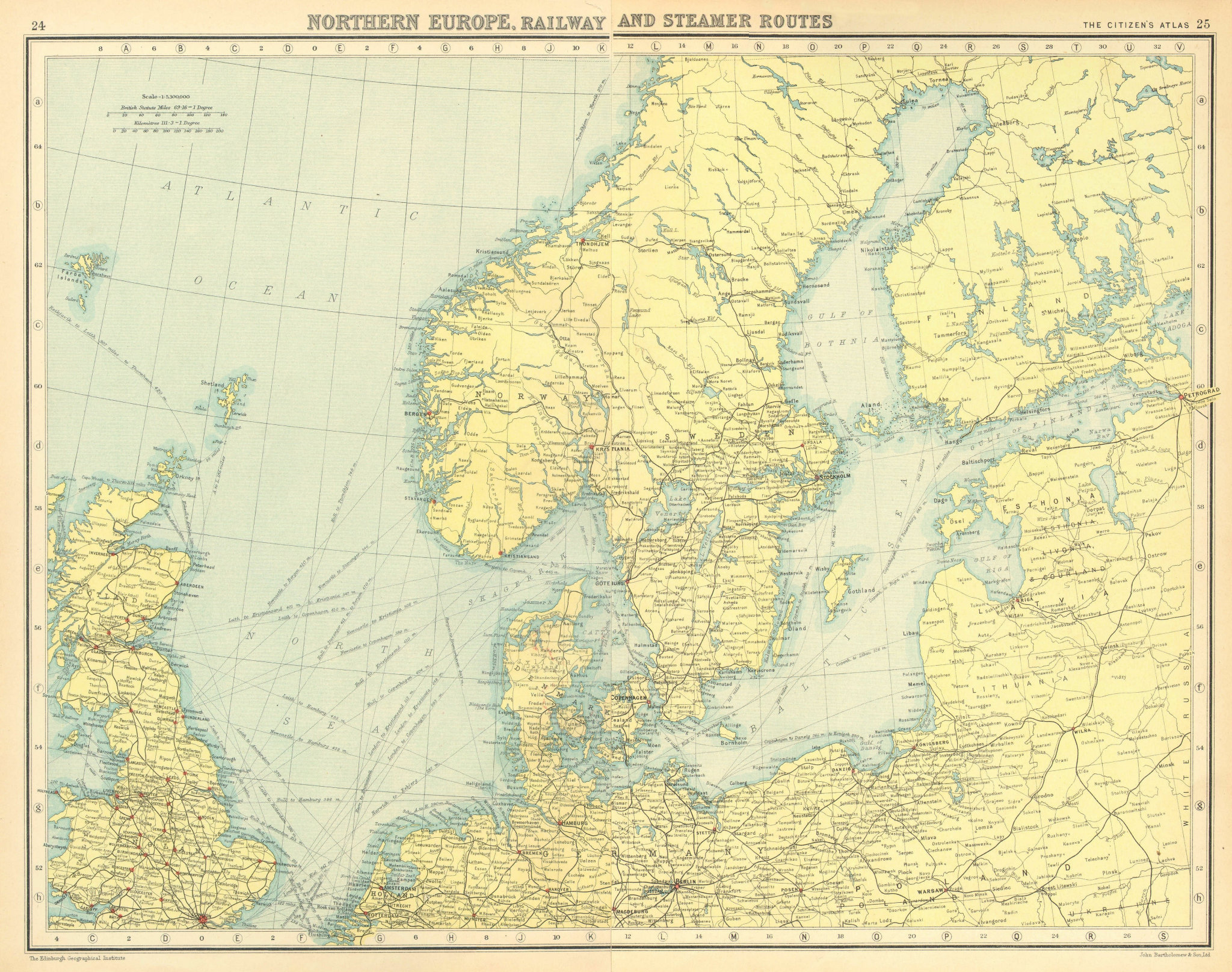 Associate Product NORTHERN EUROPE. Railway and Steamer Routes. BARTHOLOMEW 1924 old vintage map