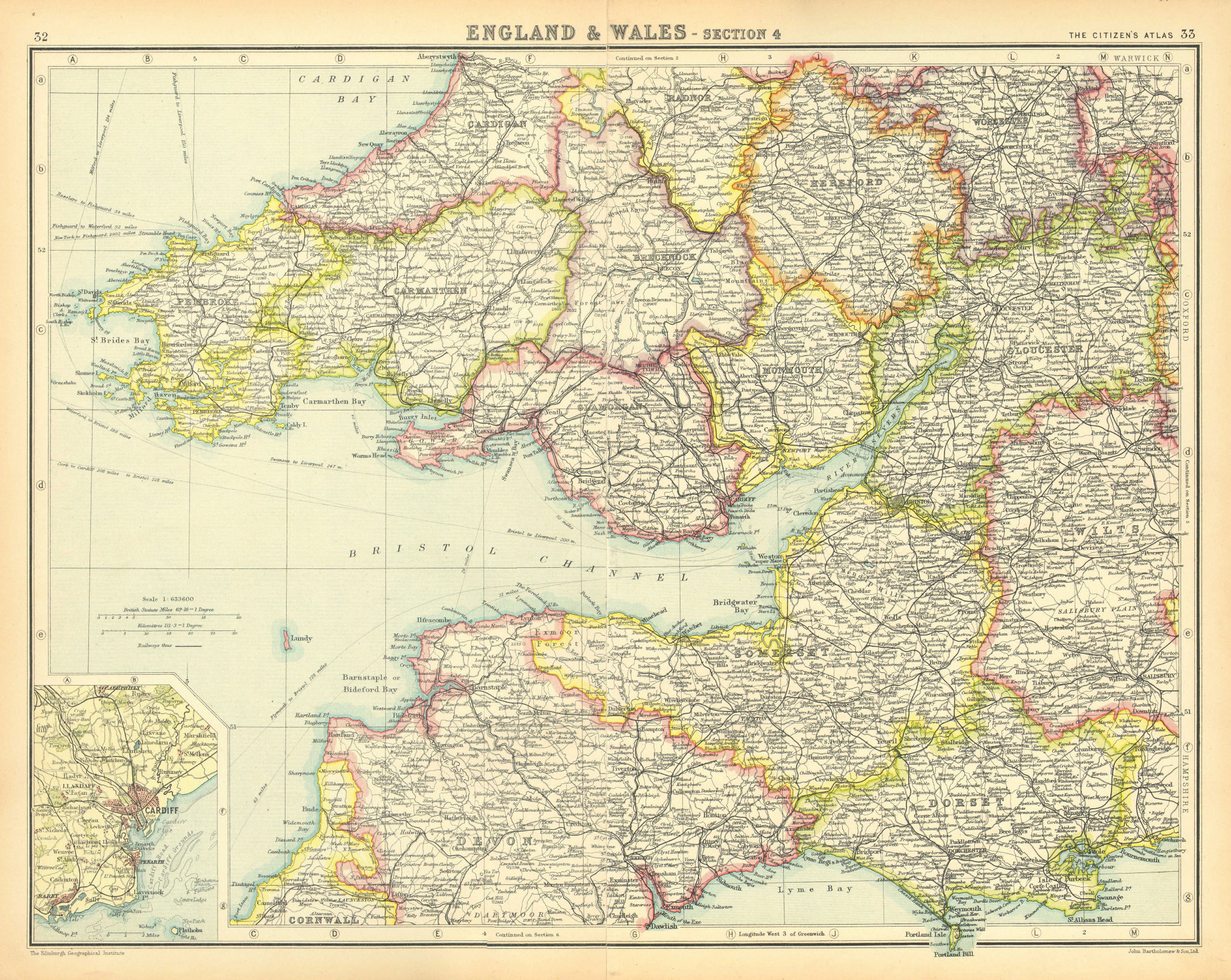 Associate Product SOUTH WALES & SOUTH WEST ENGLAND.Bristol Channel Severn Estuary.Cardiff 1924 map