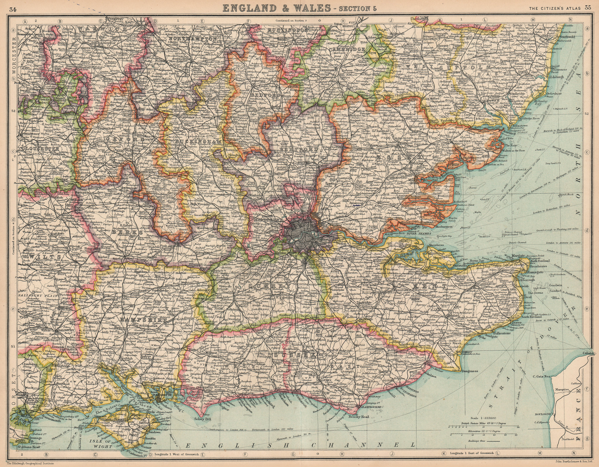 Associate Product SOUTH EAST ENGLAND. counties. BARTHOLOMEW 1924 old vintage map plan chart