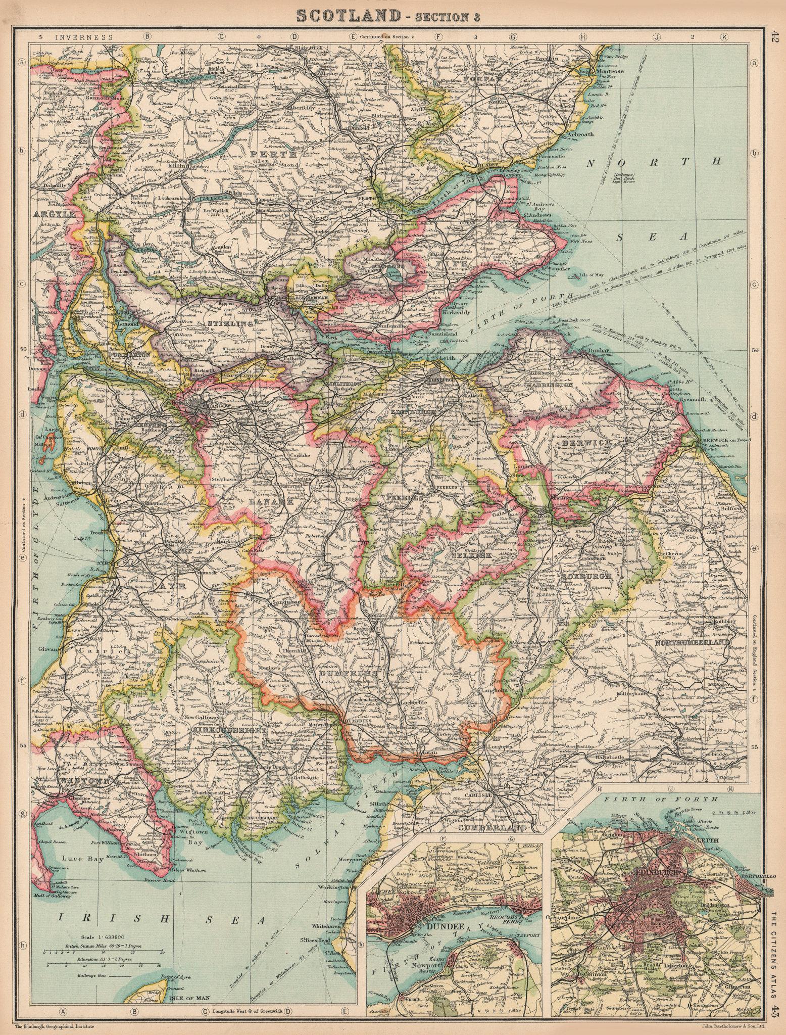 Associate Product SCOTLAND SOUTH & CENTRAL. Inset Edinburgh & Dundee. BARTHOLOMEW 1924 old map