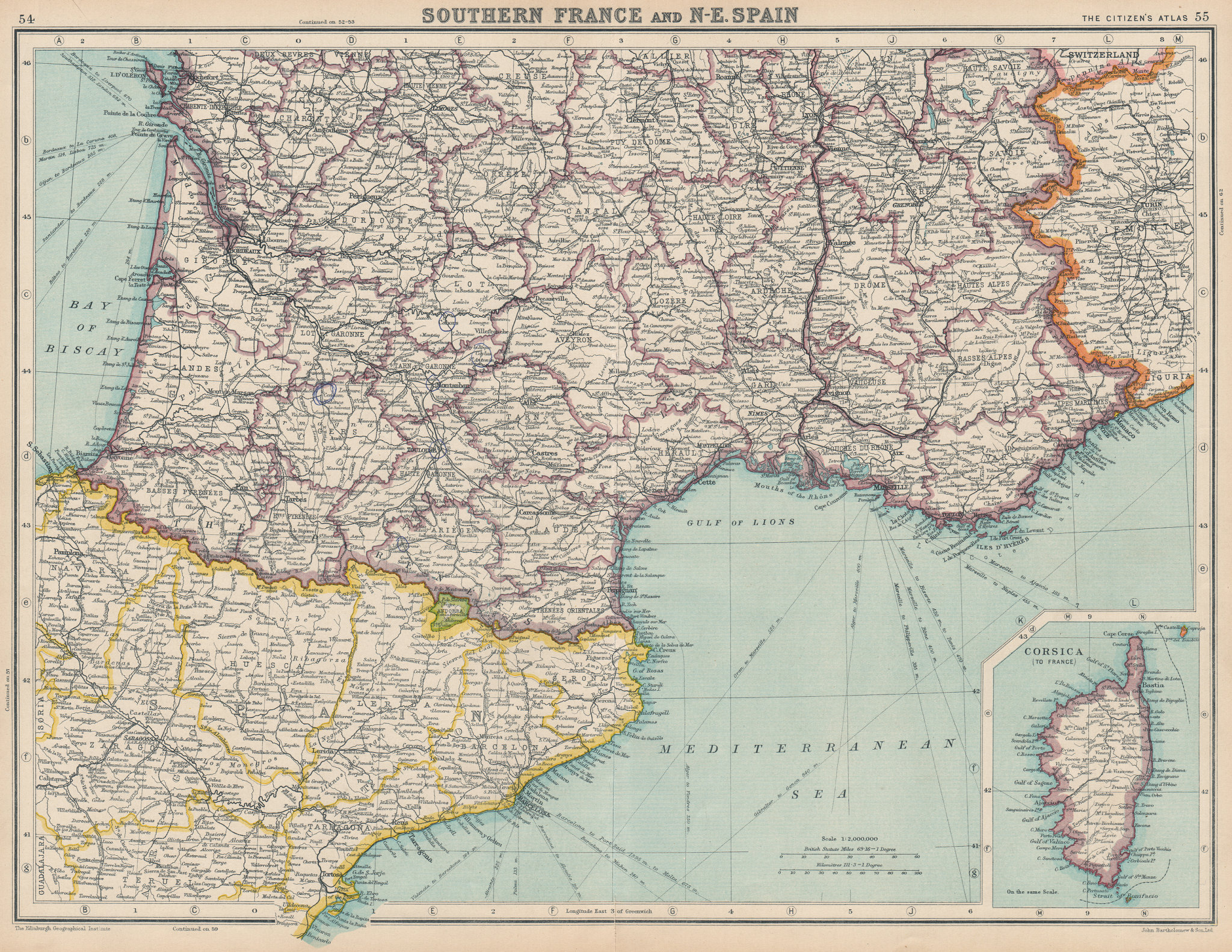 Associate Product FRANCE SOUTH & NORTH EAST SPAIN.Catalonia(Catalunya)Aquitaine Provence 1924 map