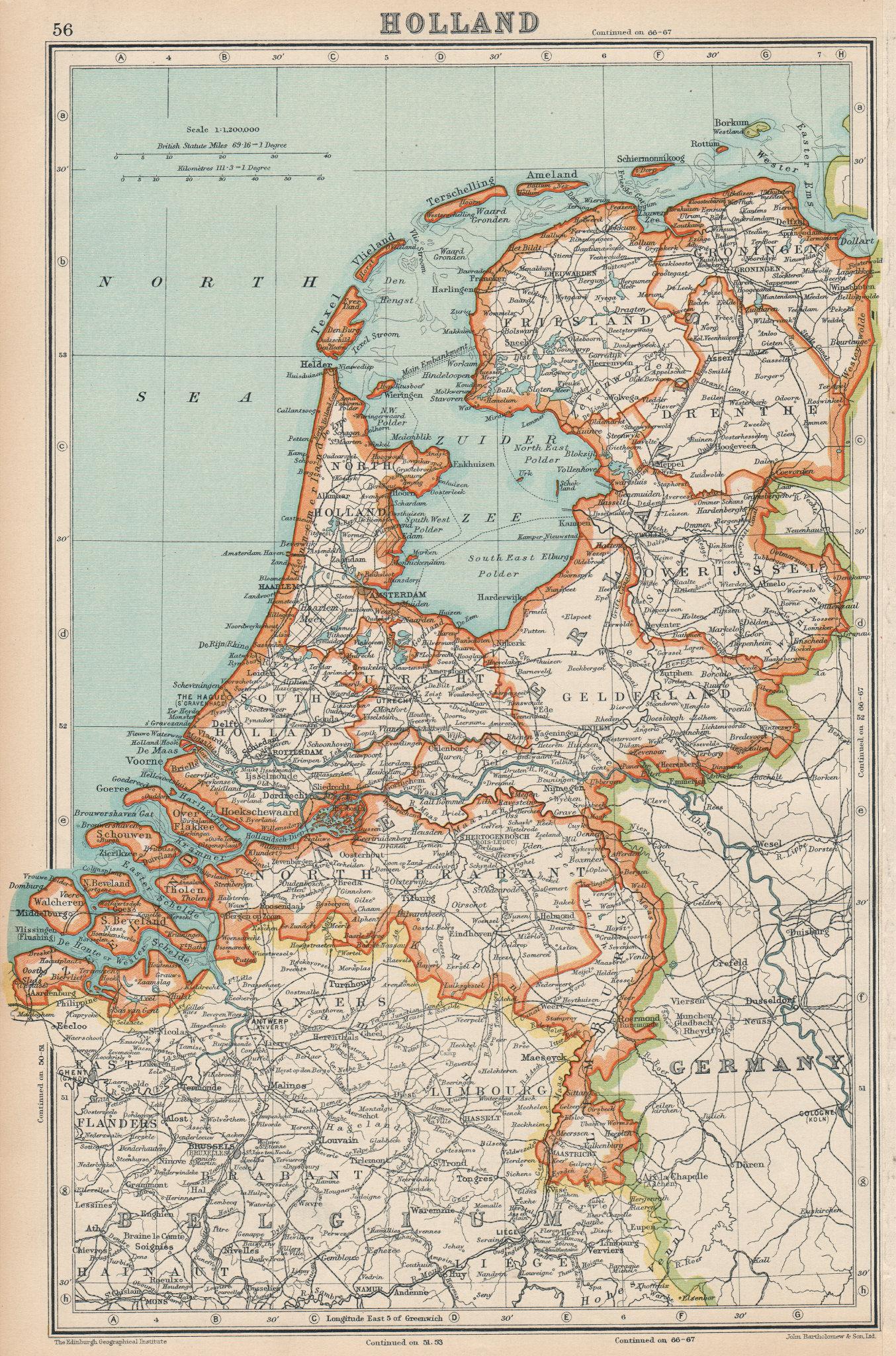 Associate Product NETHERLANDS. Holland. General map. BARTHOLOMEW 1924 old vintage plan chart