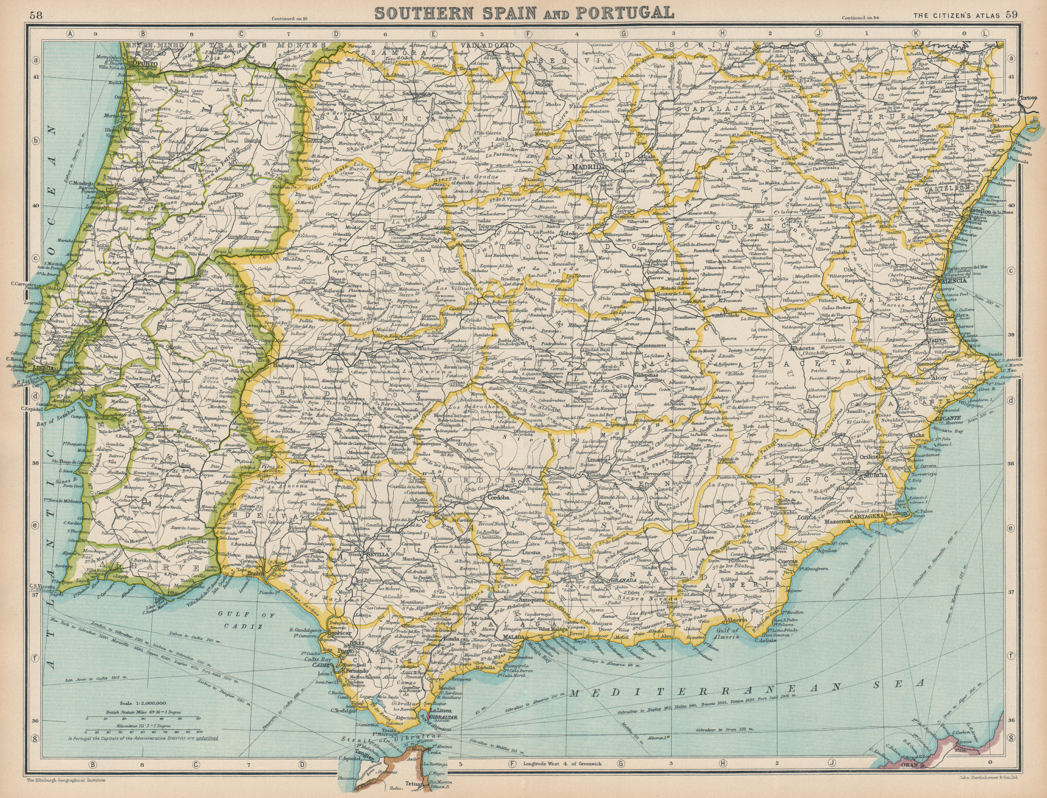 Associate Product IBERIA. Southern Spain and Portugal. BARTHOLOMEW 1924 old vintage map chart