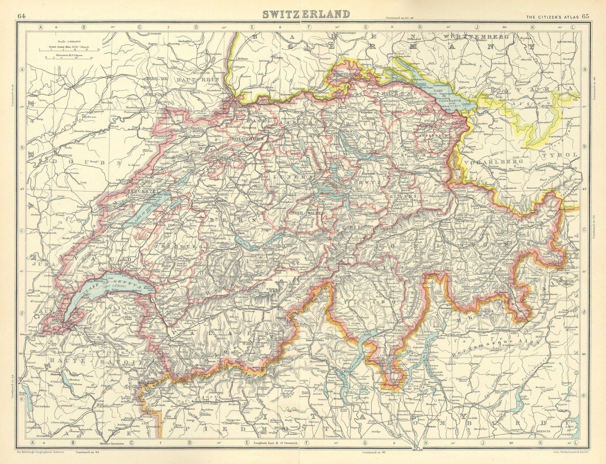 Associate Product SWITZERLAND. Shows Cantons, railways. BARTHOLOMEW 1924 old vintage map chart