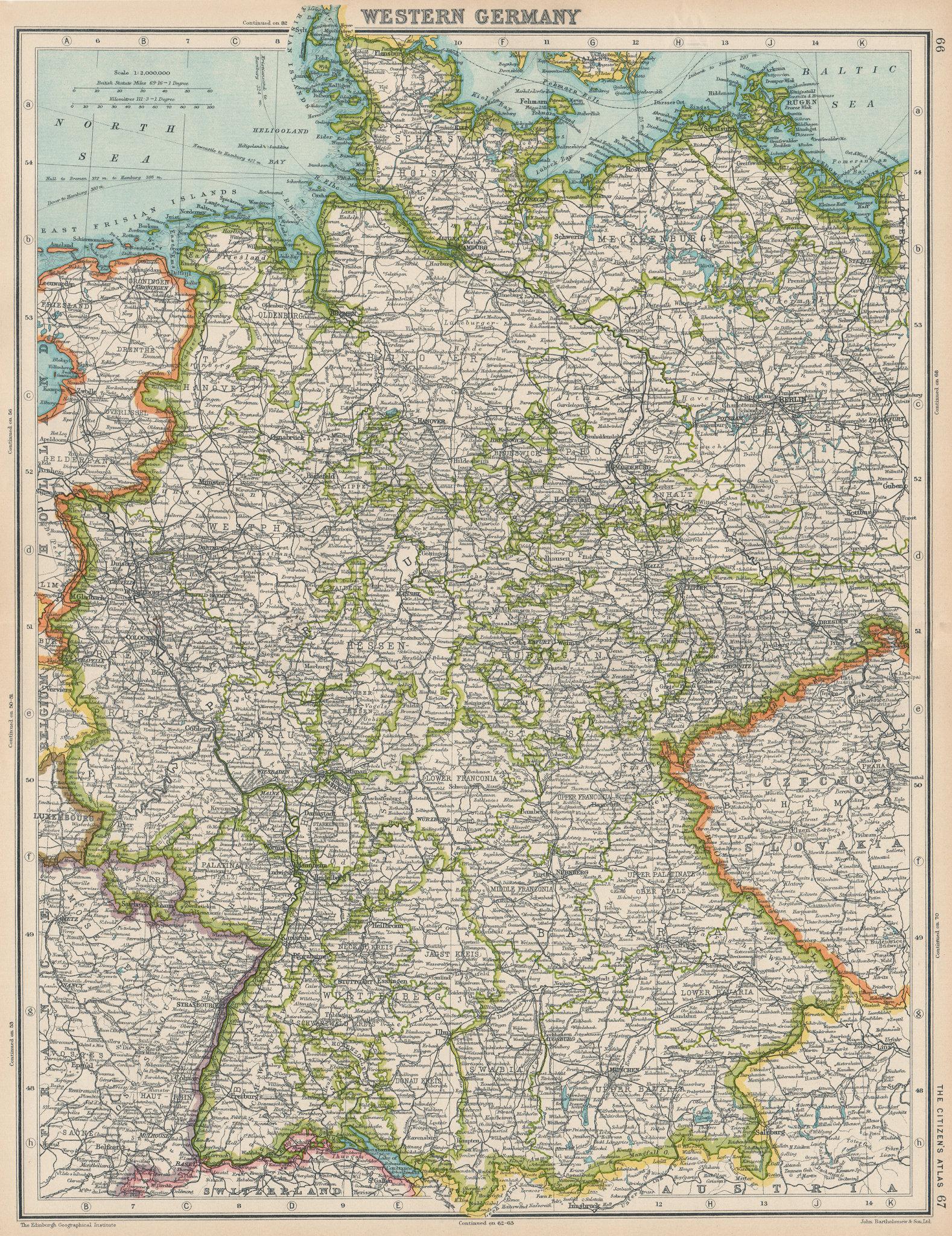 WESTERN GERMANY. Shows Saarbeckengebiet under League of Nations mandate 1924 map