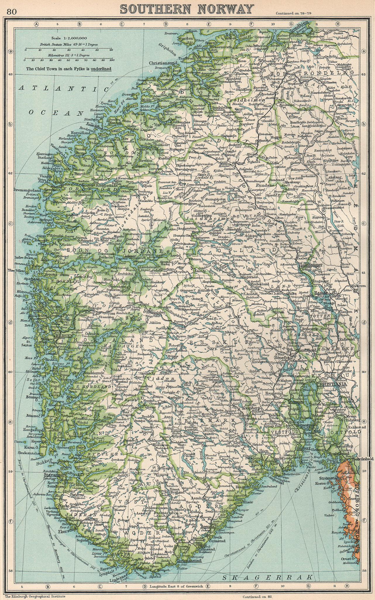 NORWAY. Southern Norway. BARTHOLOMEW 1924 old vintage map plan chart