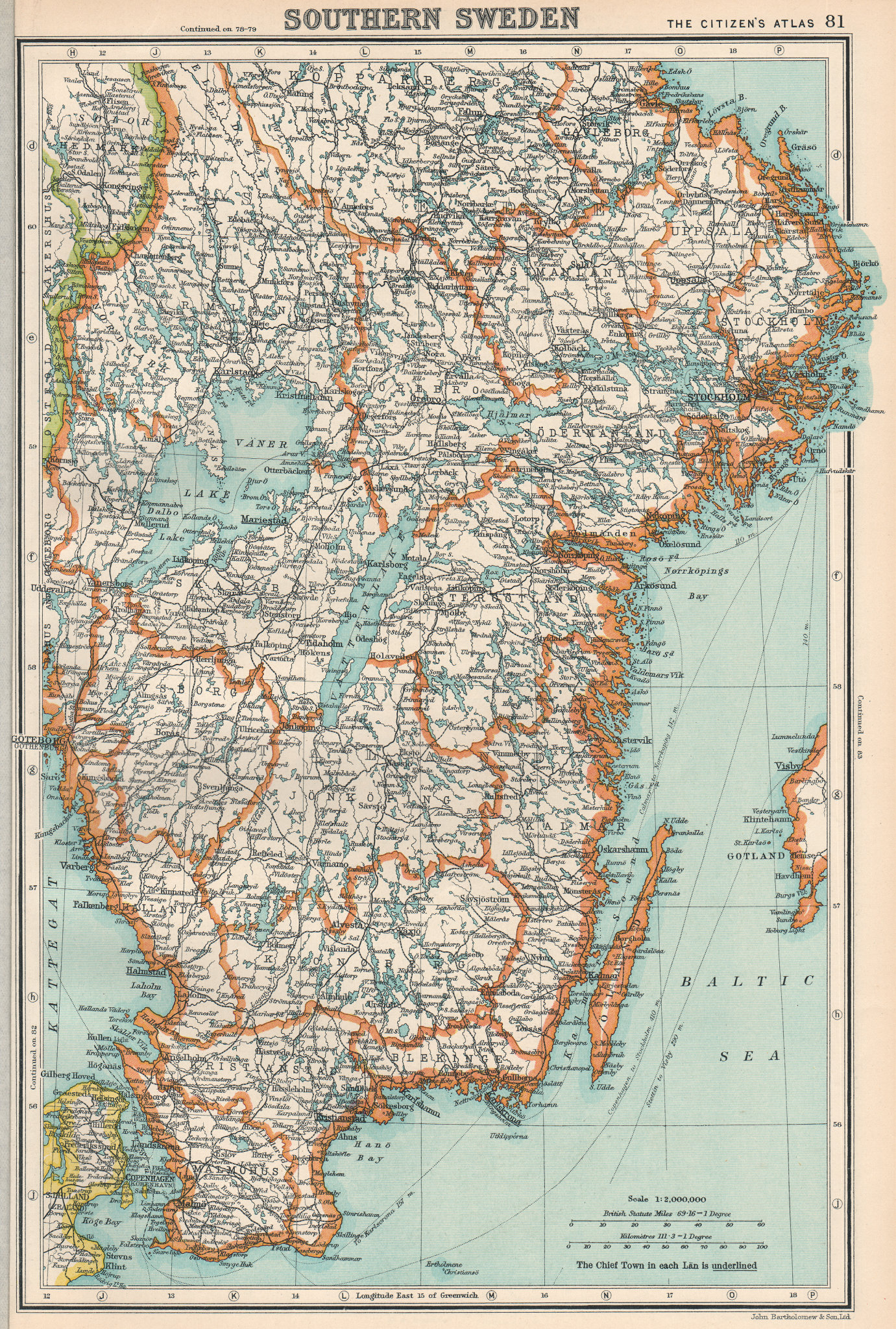 Associate Product SWEDEN. Southern Sweden. BARTHOLOMEW 1924 old vintage map plan chart