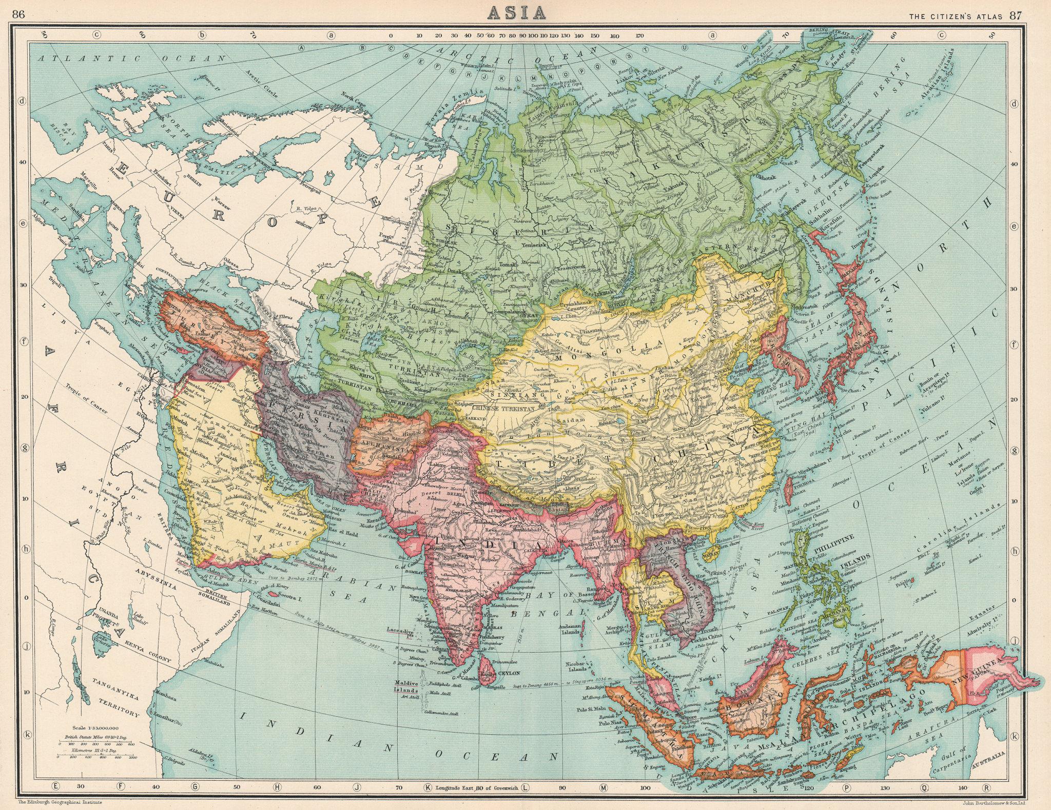 ASIA. British India. Japanese occupied Korea. Syria & Lebanon unified. 1924 map