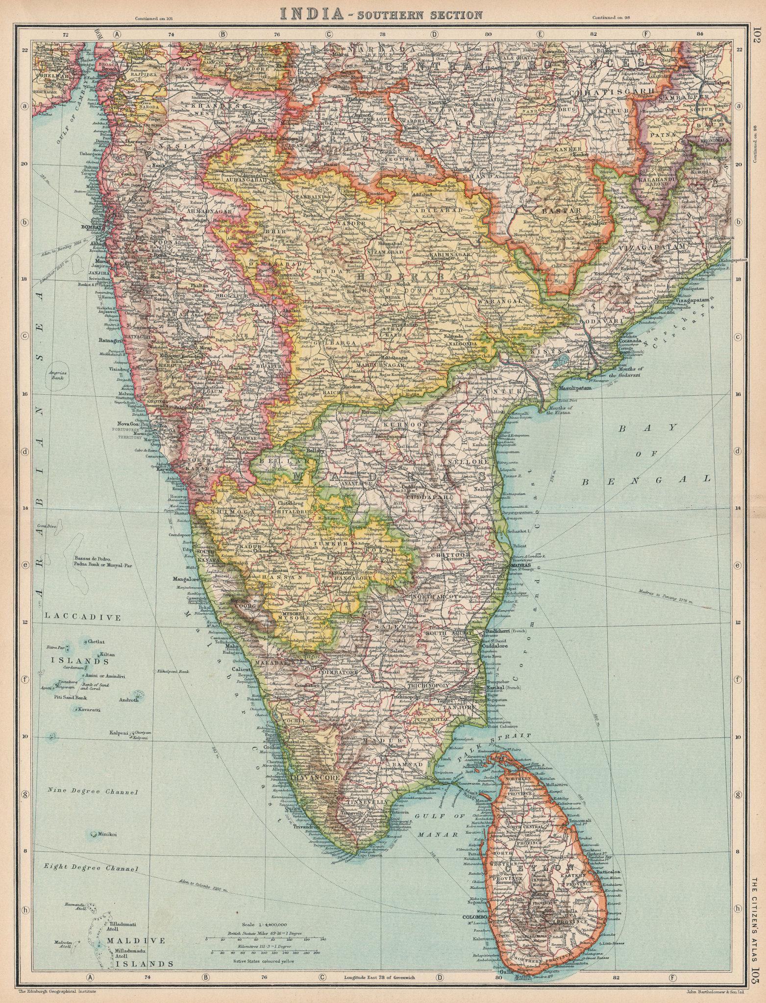 Associate Product SOUTH INDIA & CEYLON (SRI LANKA) . Mysore Madras (Chennai) Hyderabad 1924 map