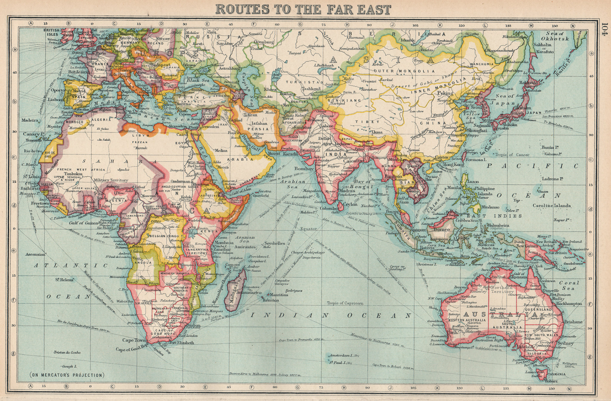 Associate Product FAR EAST ROUTES. continuous British possessions from N-S of Africa 1924 map