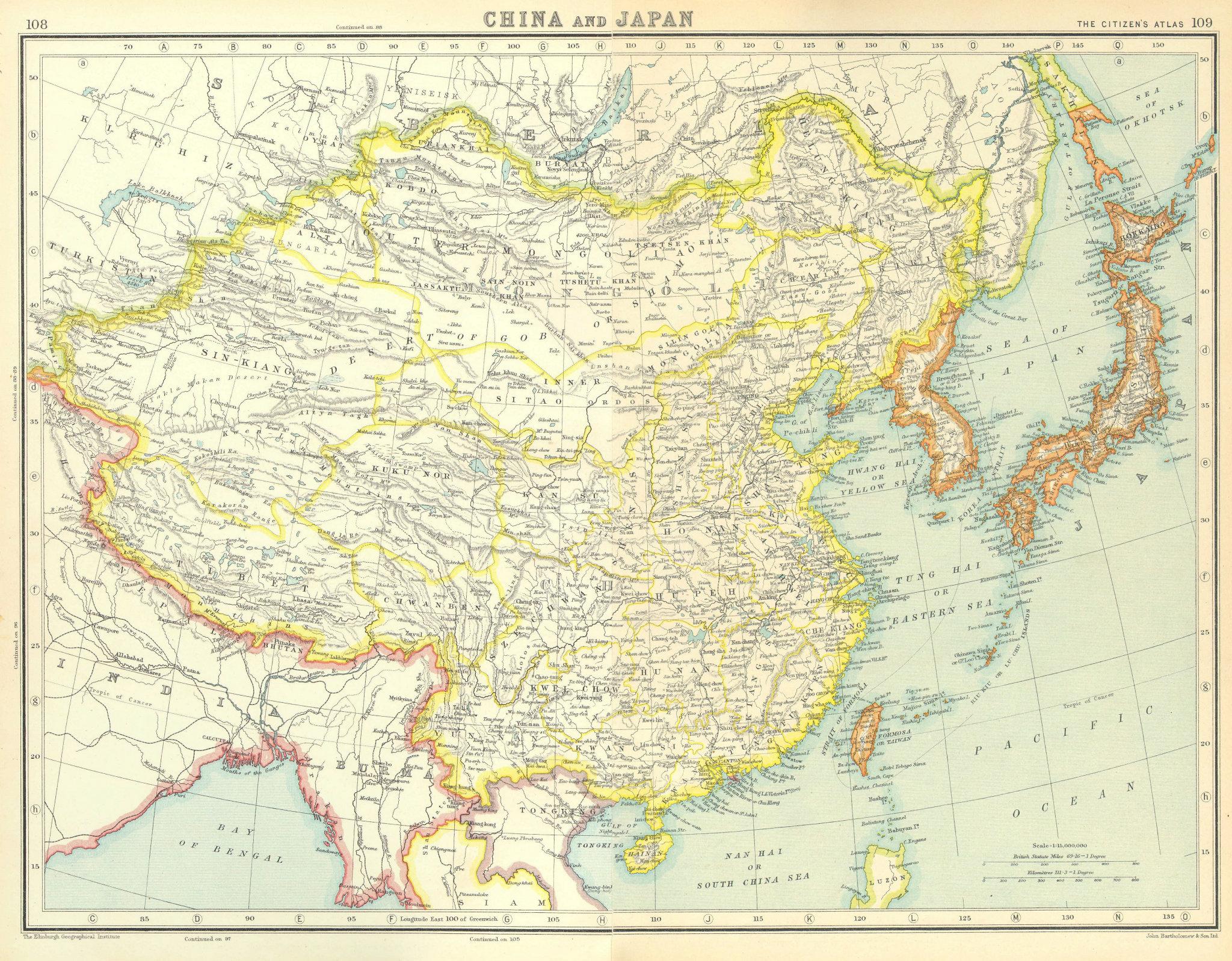 Associate Product EAST ASIA. China Japan Japanese occupied Korea Formosa Taiwan. 1924 old map