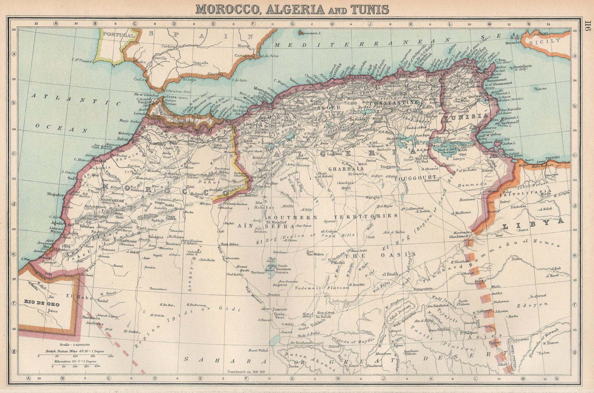 Associate Product NORTH AFRICA. Morocco, Algeria & Tunis. Unresolved borders. BARTHOLOMEW 1924 map