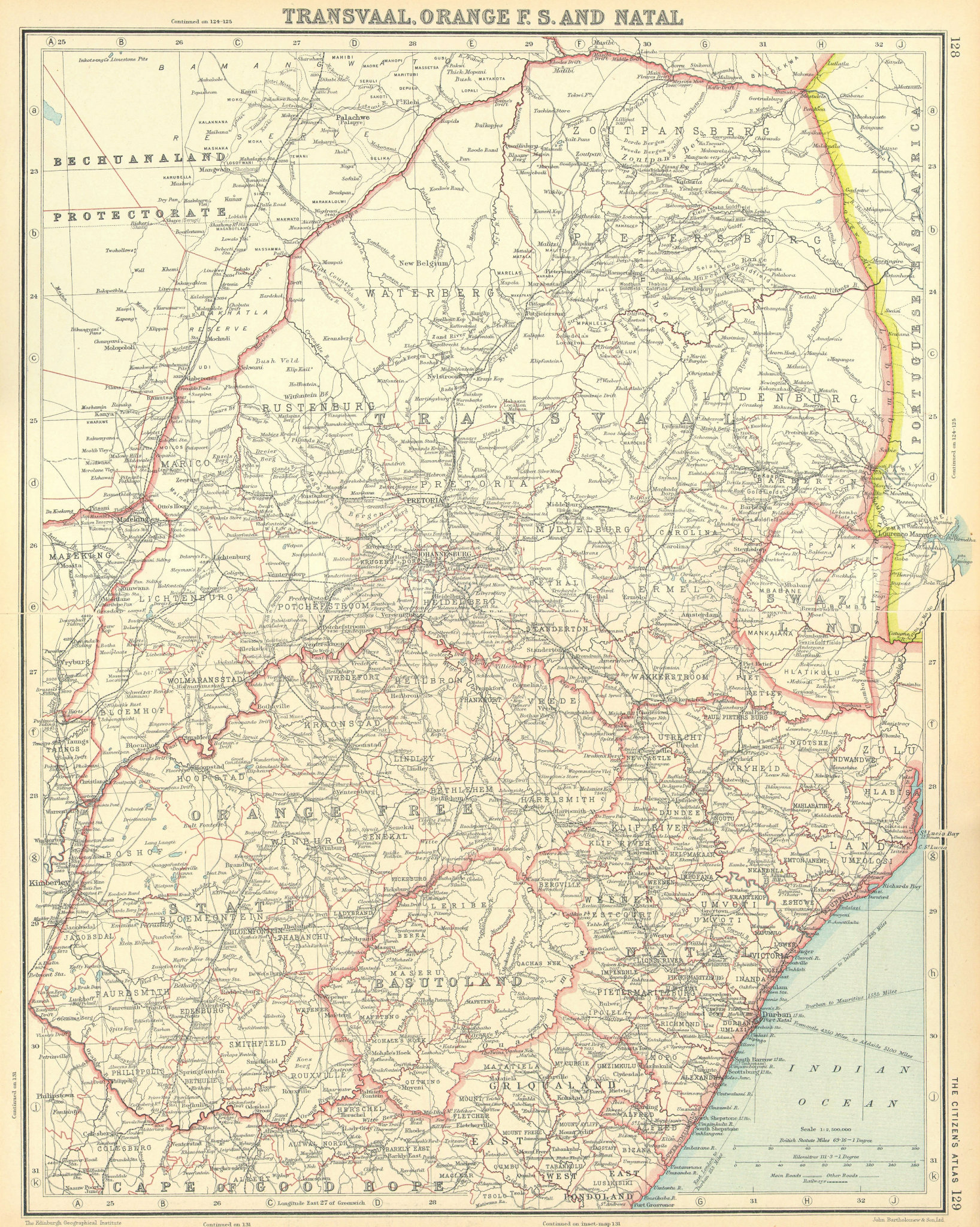 Associate Product SOUTH AFRICA. Transvaal Orange Free State Natal Swaziland Lesotho 1924 old map