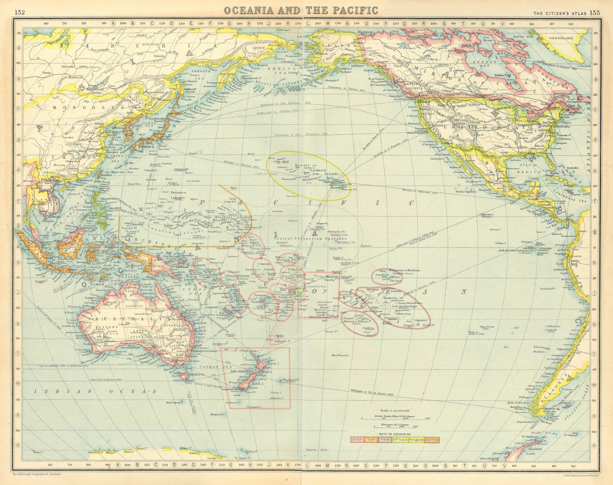 Associate Product PACIFIC COLONIAL. British French Dutch US Portuguese Japanese 1924 old map