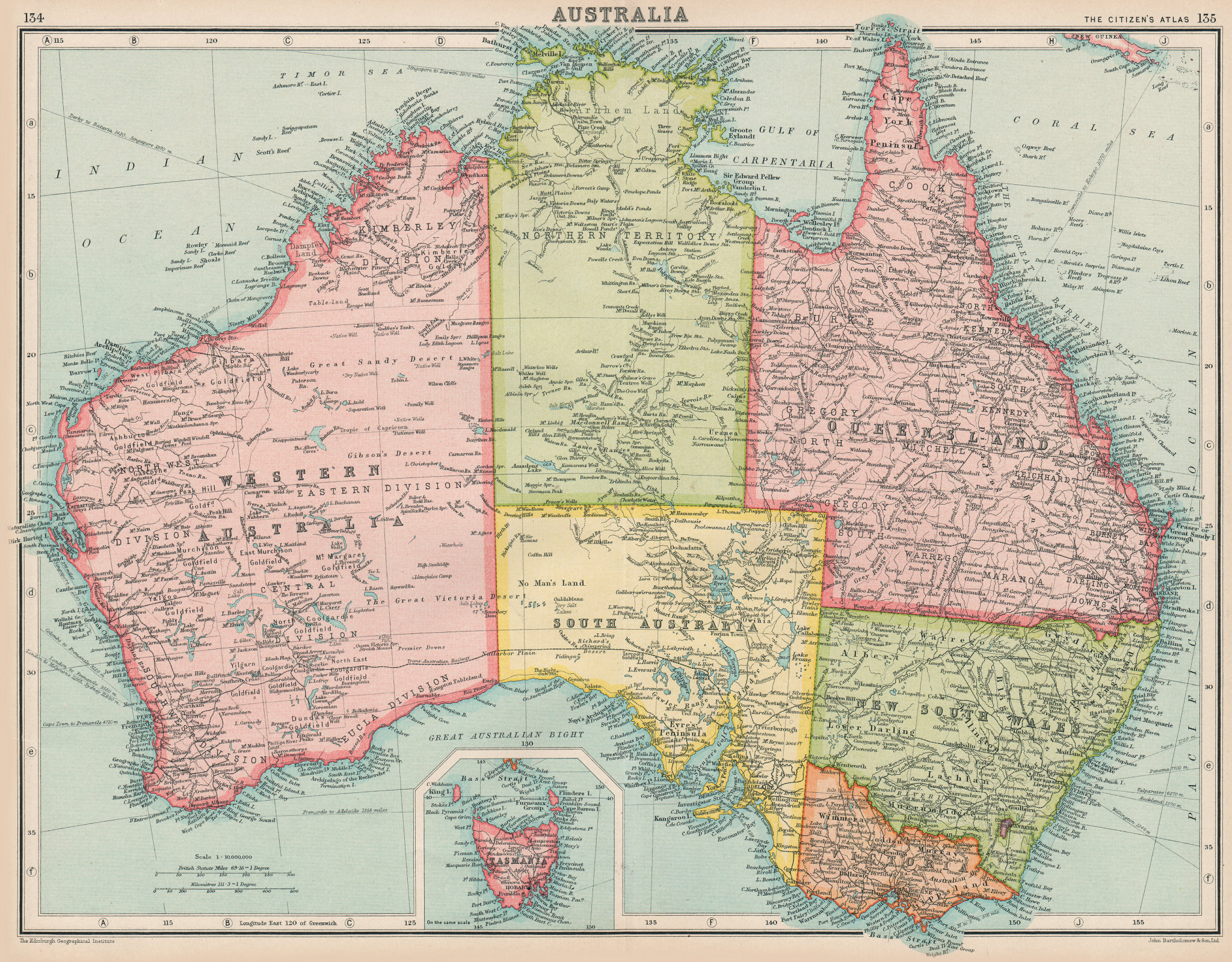 Associate Product AUSTRALIA. states. BARTHOLOMEW 1924 old vintage map plan chart