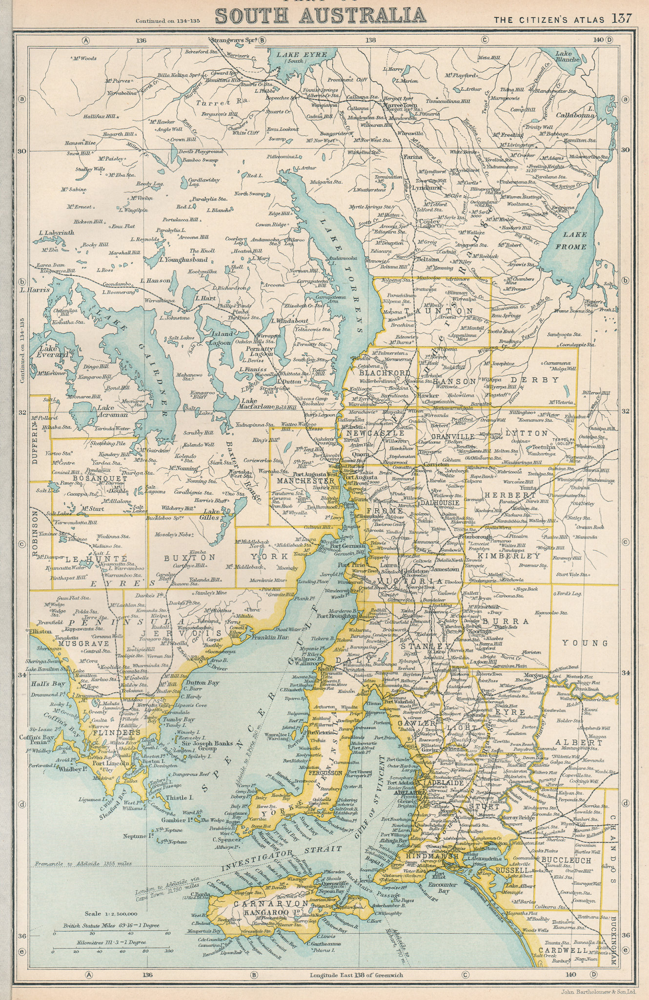 Associate Product SOUTH AUSTRALIA. state map showing counties. BARTHOLOMEW 1924 old vintage