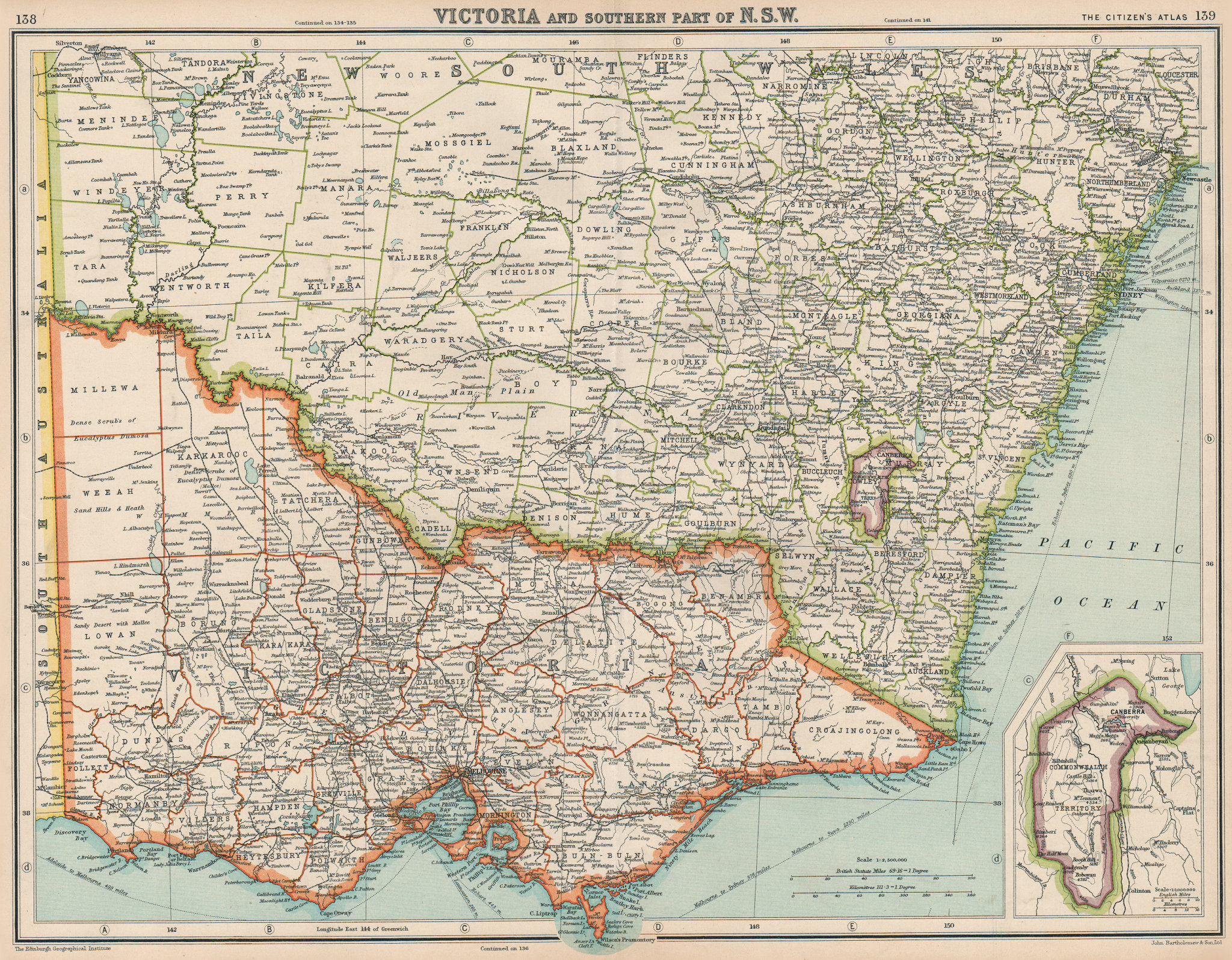 Associate Product AUSTRALIA. Victoria, Southern New South Wales & Commonwealth Territory 1924 map