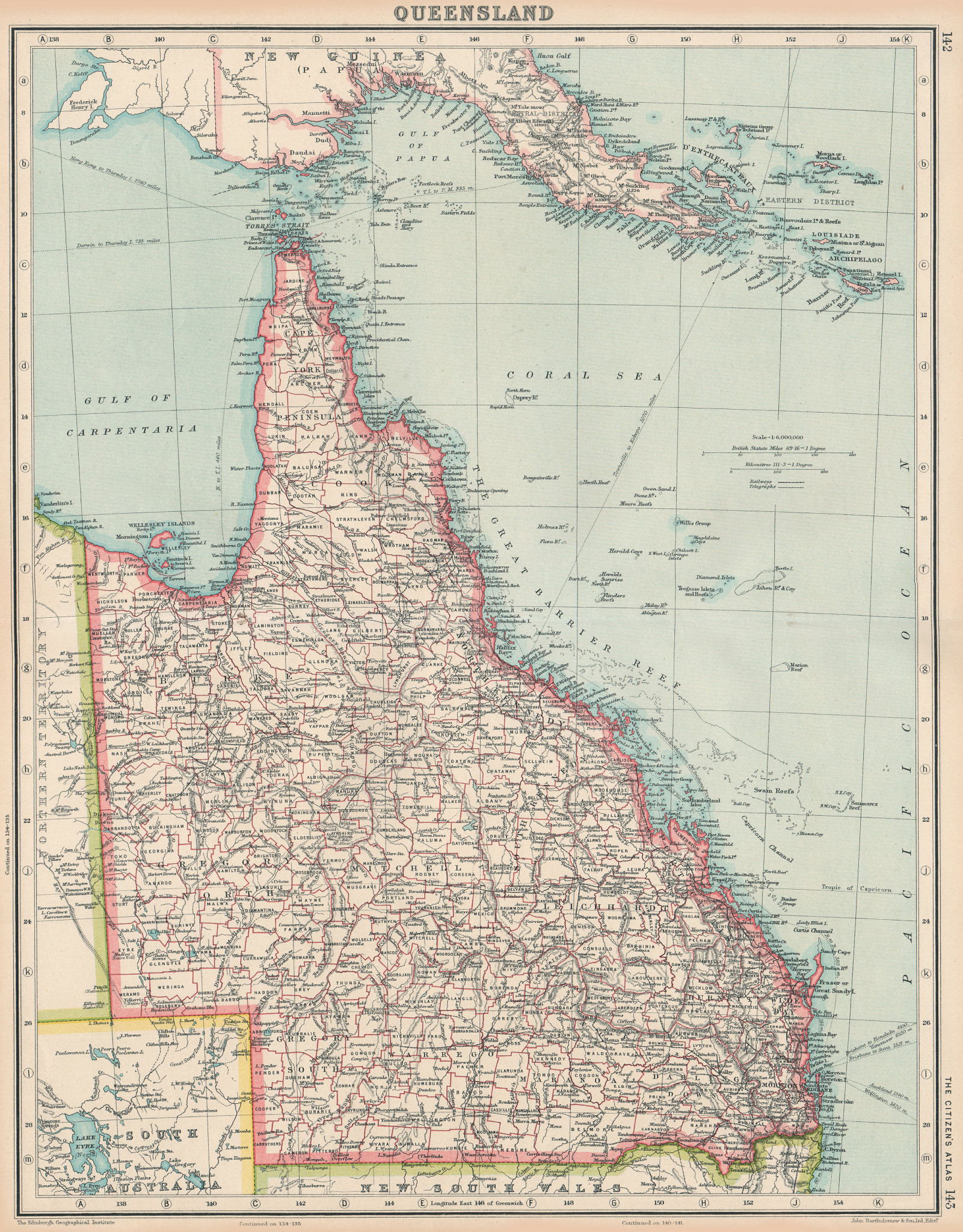 Associate Product QUEENSLAND. State map showing counties. Australia. BARTHOLOMEW 1924 old
