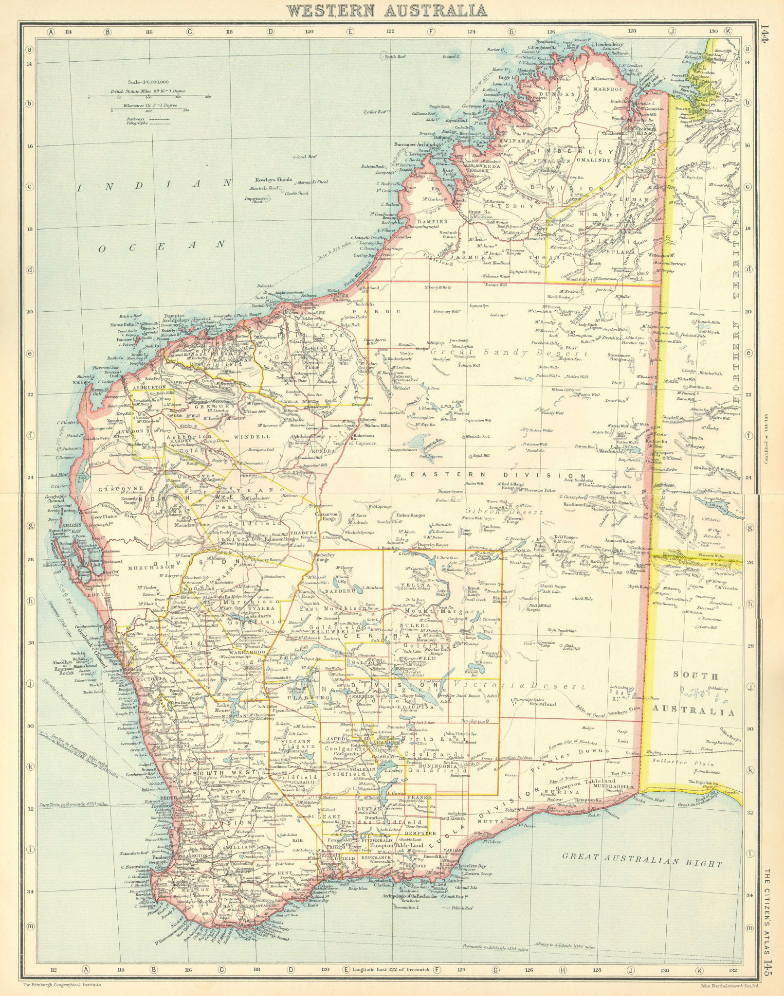 Associate Product WESTERN AUSTRALIA. showing land districts & goldfields. BARTHOLOMEW 1924 map