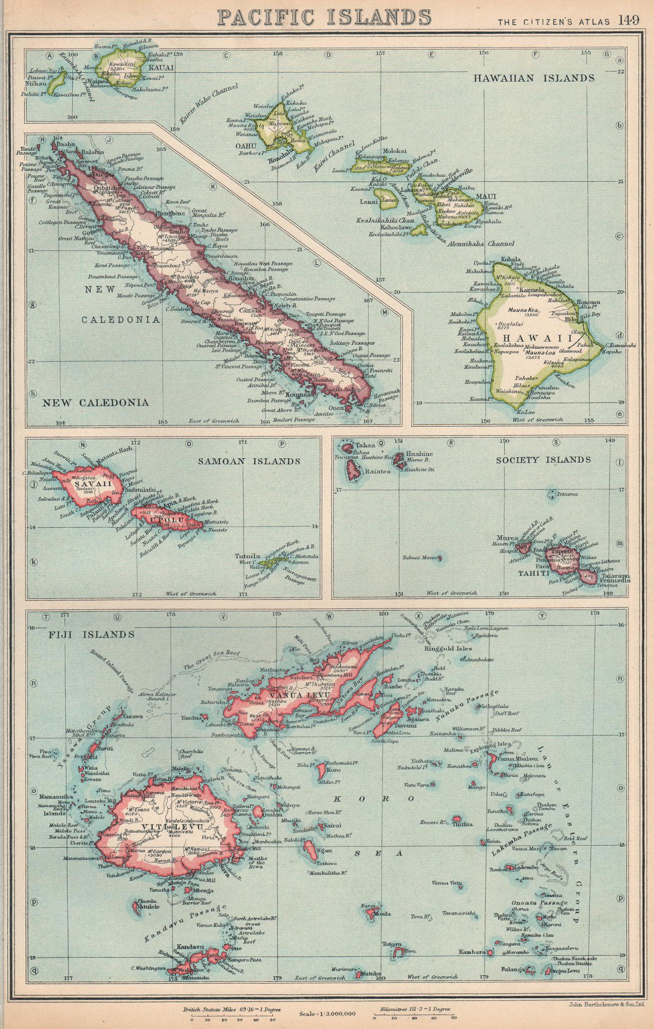 Associate Product PACIFIC ISLANDS. Hawaii Samoa Society Islands Fiji New Caledonia 1924 old map