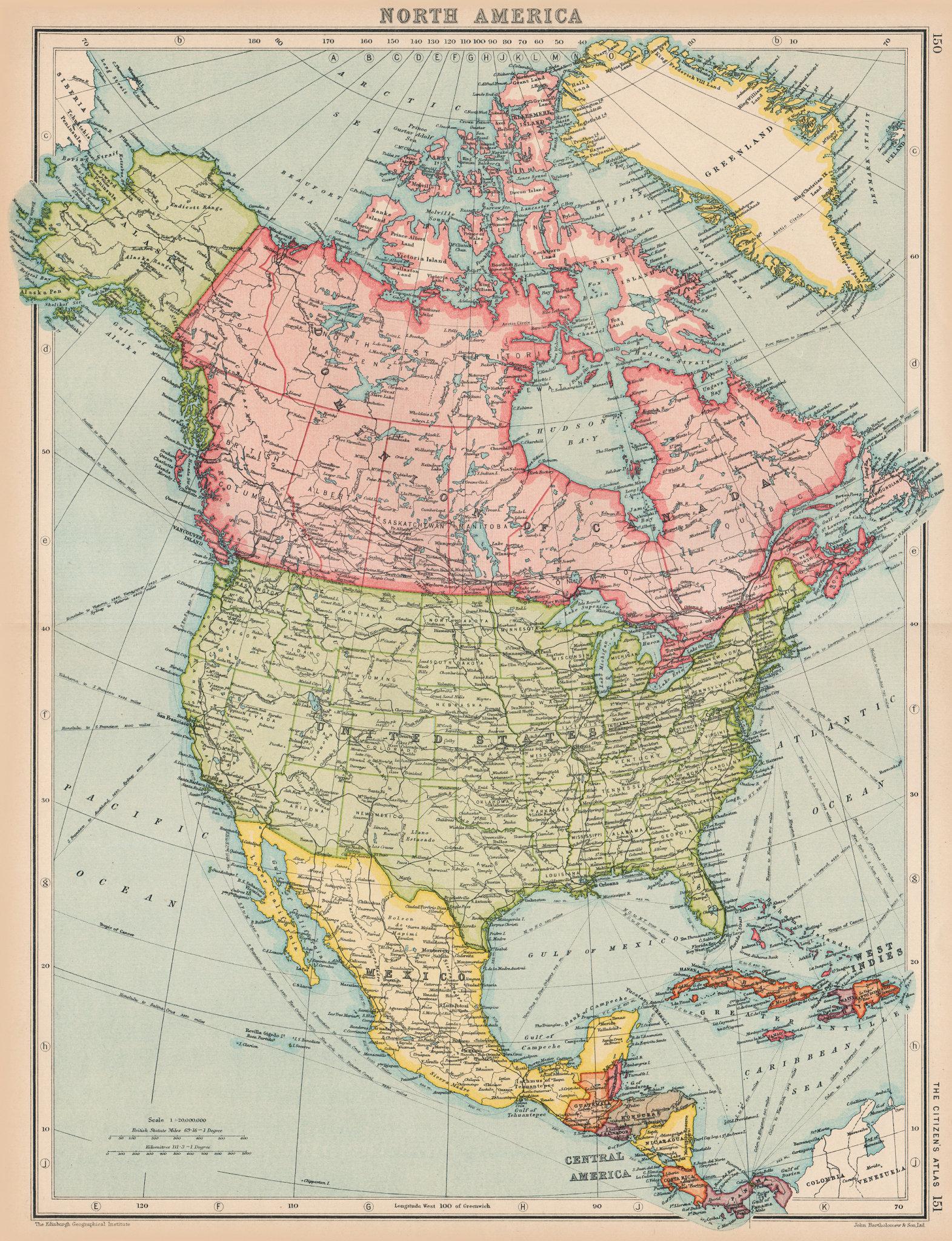 Associate Product NORTH AMERICA. General map. BARTHOLOMEW 1924 old vintage plan chart