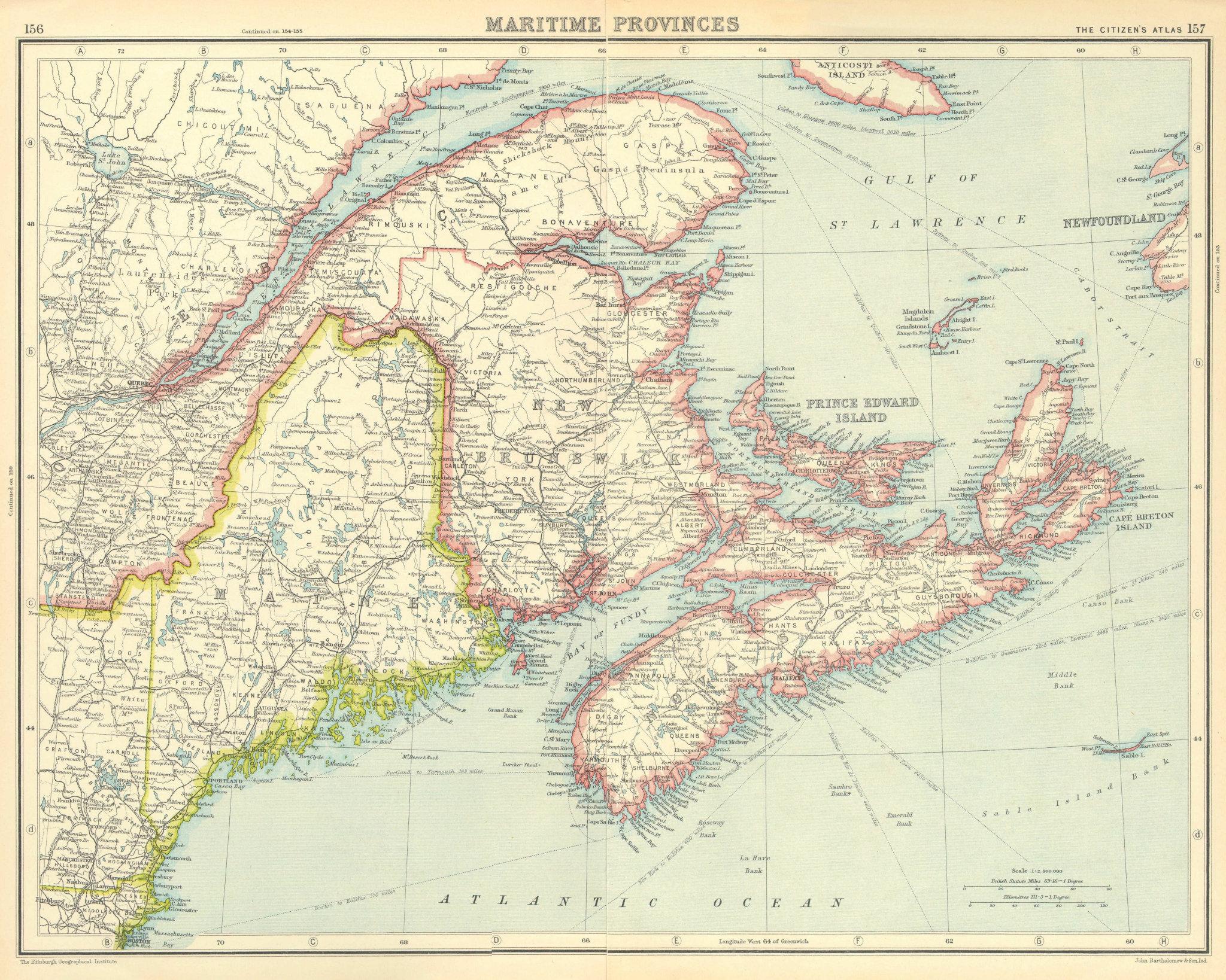 Associate Product CANADA.Maritime Provinces.New Brunswick Nova Scotia Maine.BARTHOLOMEW 1924 map