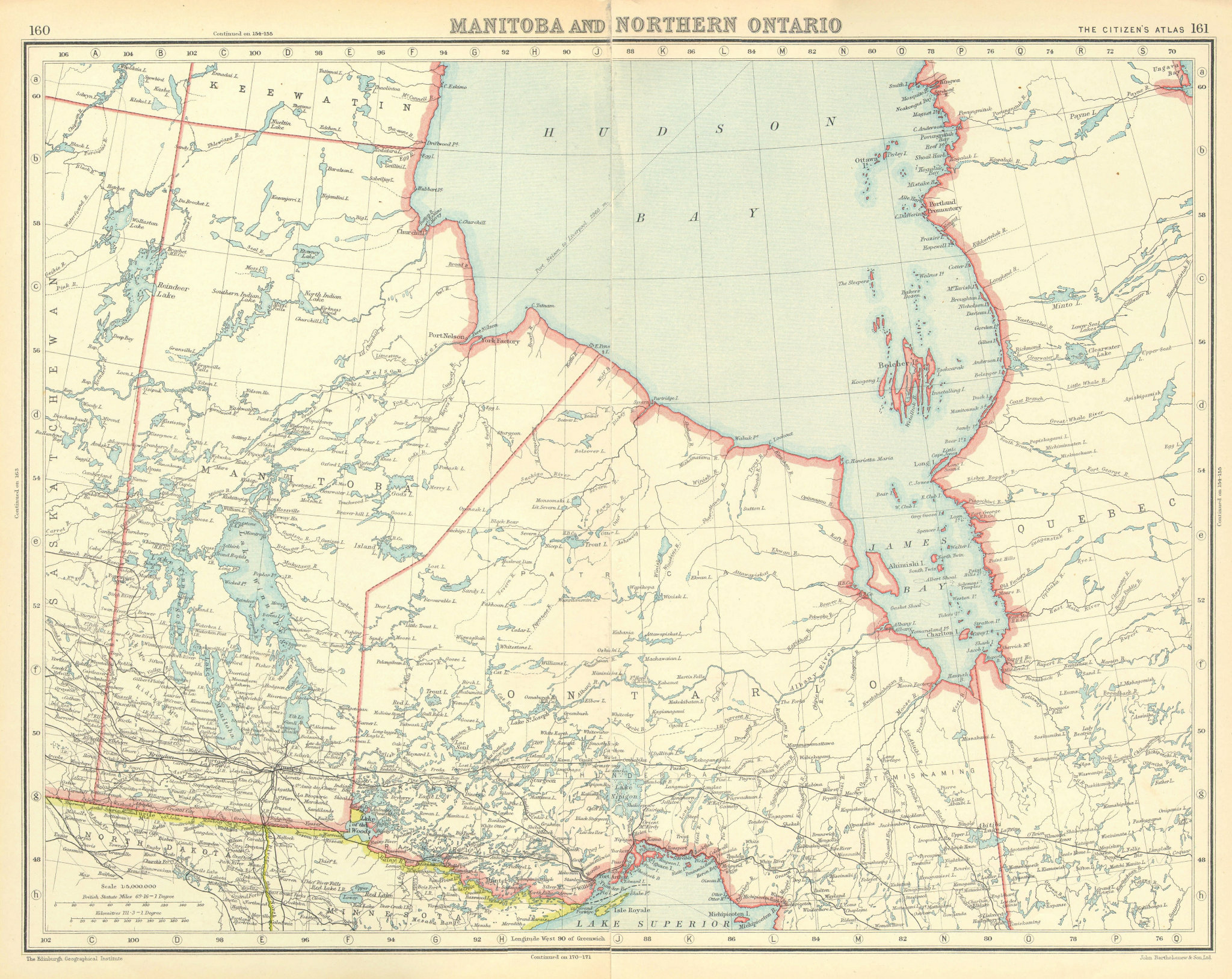Associate Product CANADA. Manitoba and Northern Ontario. Hudson Bay. BARTHOLOMEW 1924 old map