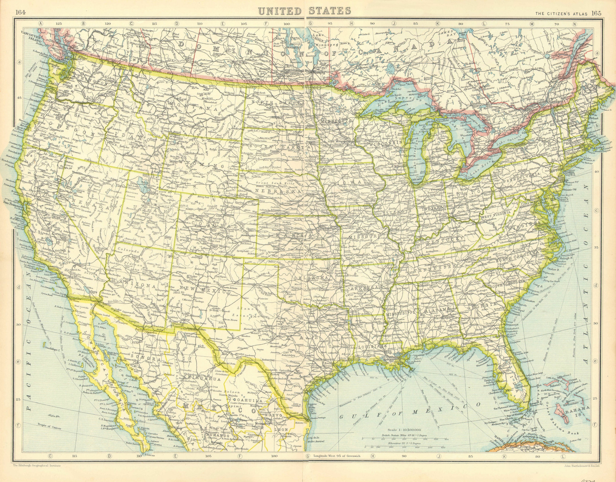 Associate Product USA. United States general map. BARTHOLOMEW 1924 old vintage plan chart