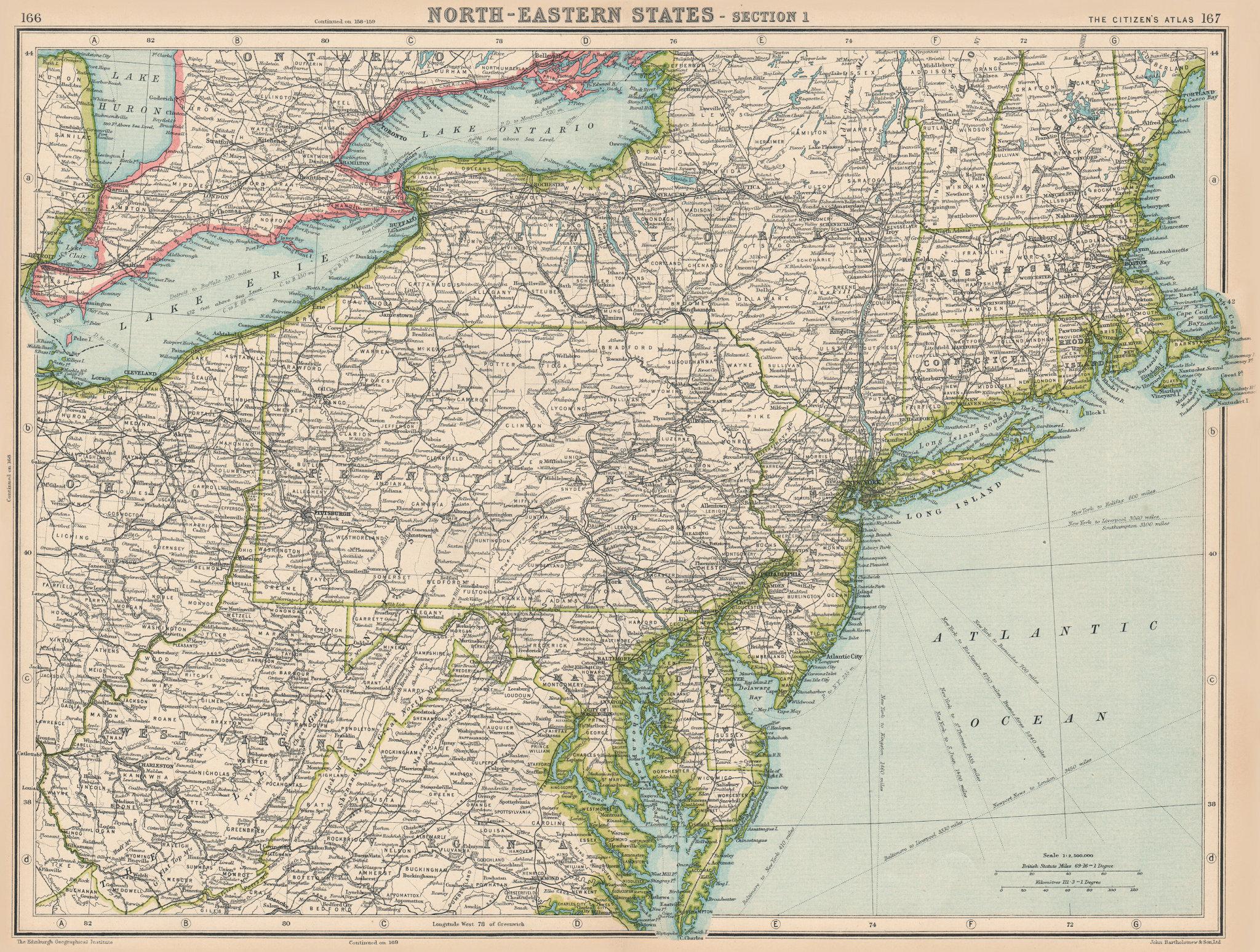 Associate Product USA. North-Eastern States. BARTHOLOMEW 1924 old vintage map plan chart