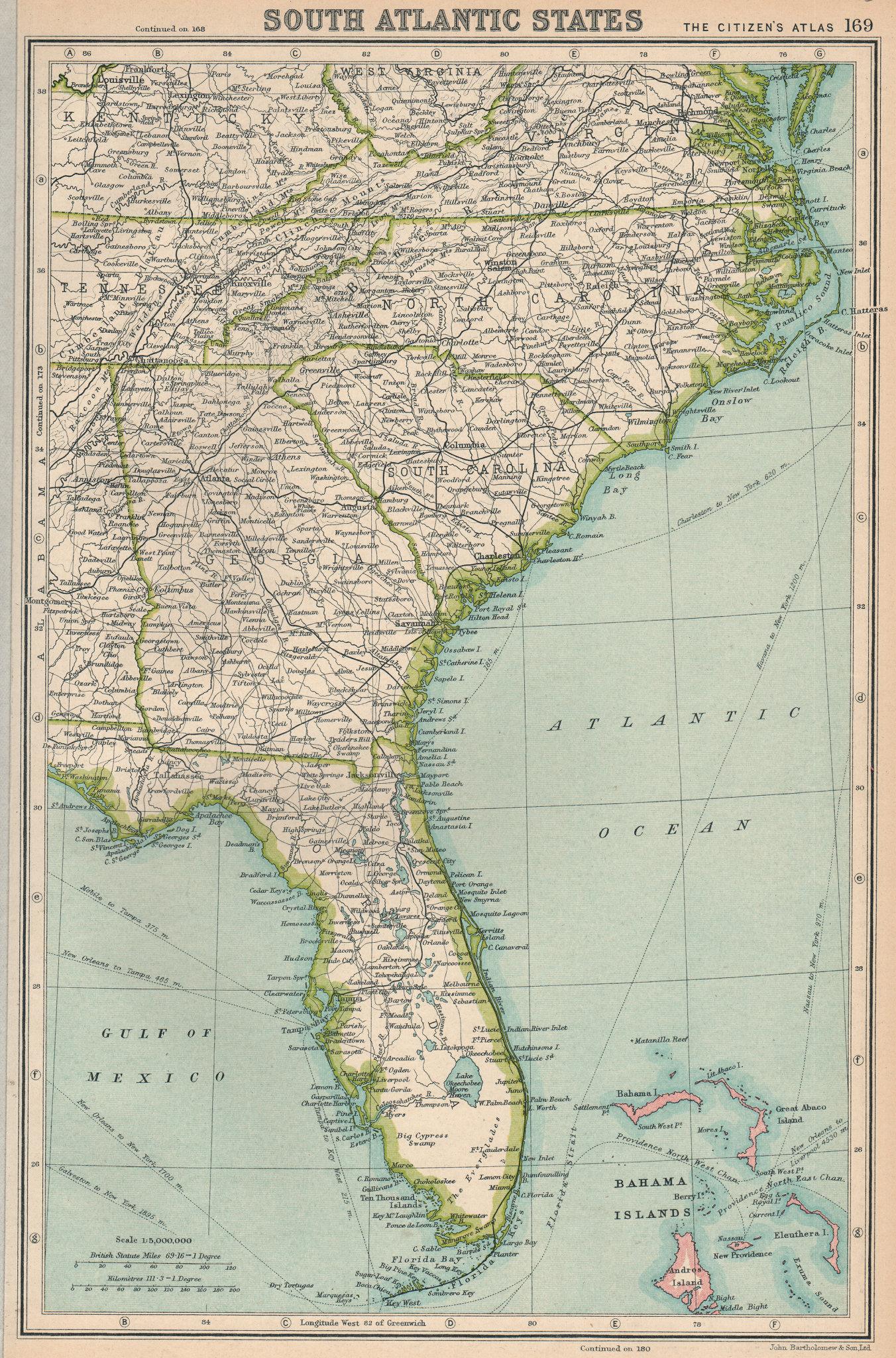 Associate Product SOUTHEASTERN USA. Florida Georgia North & South Carolina. BARTHOLOMEW 1924 map