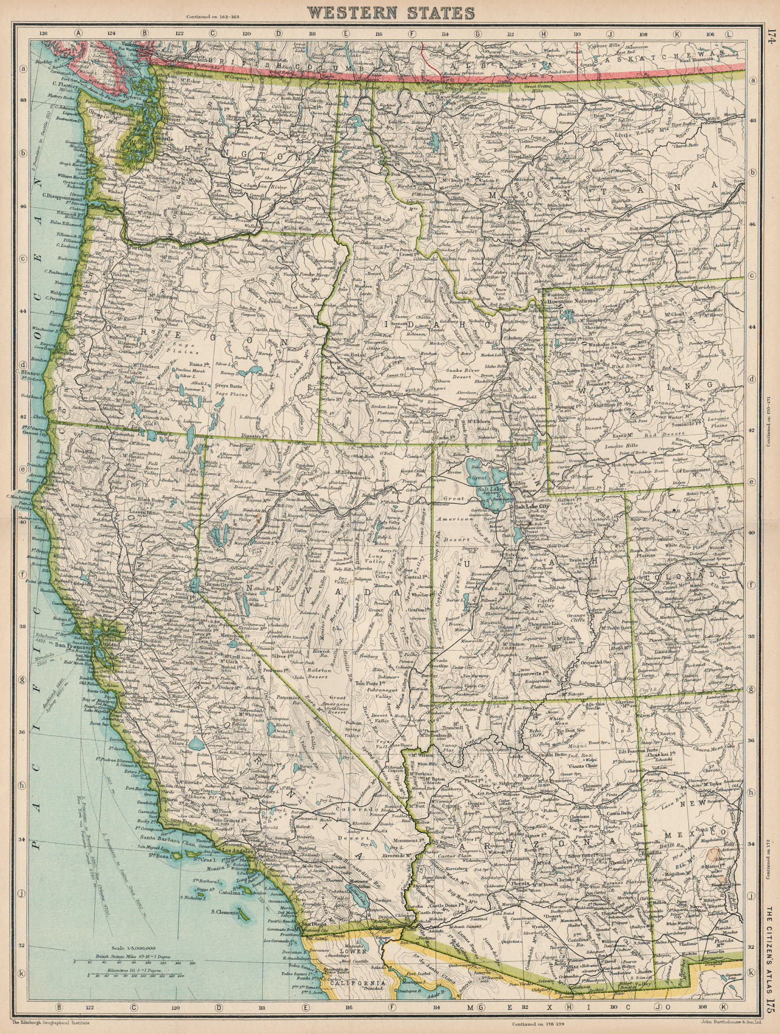 Associate Product PACIFIC USA. Western States. BARTHOLOMEW 1924 old vintage map plan chart