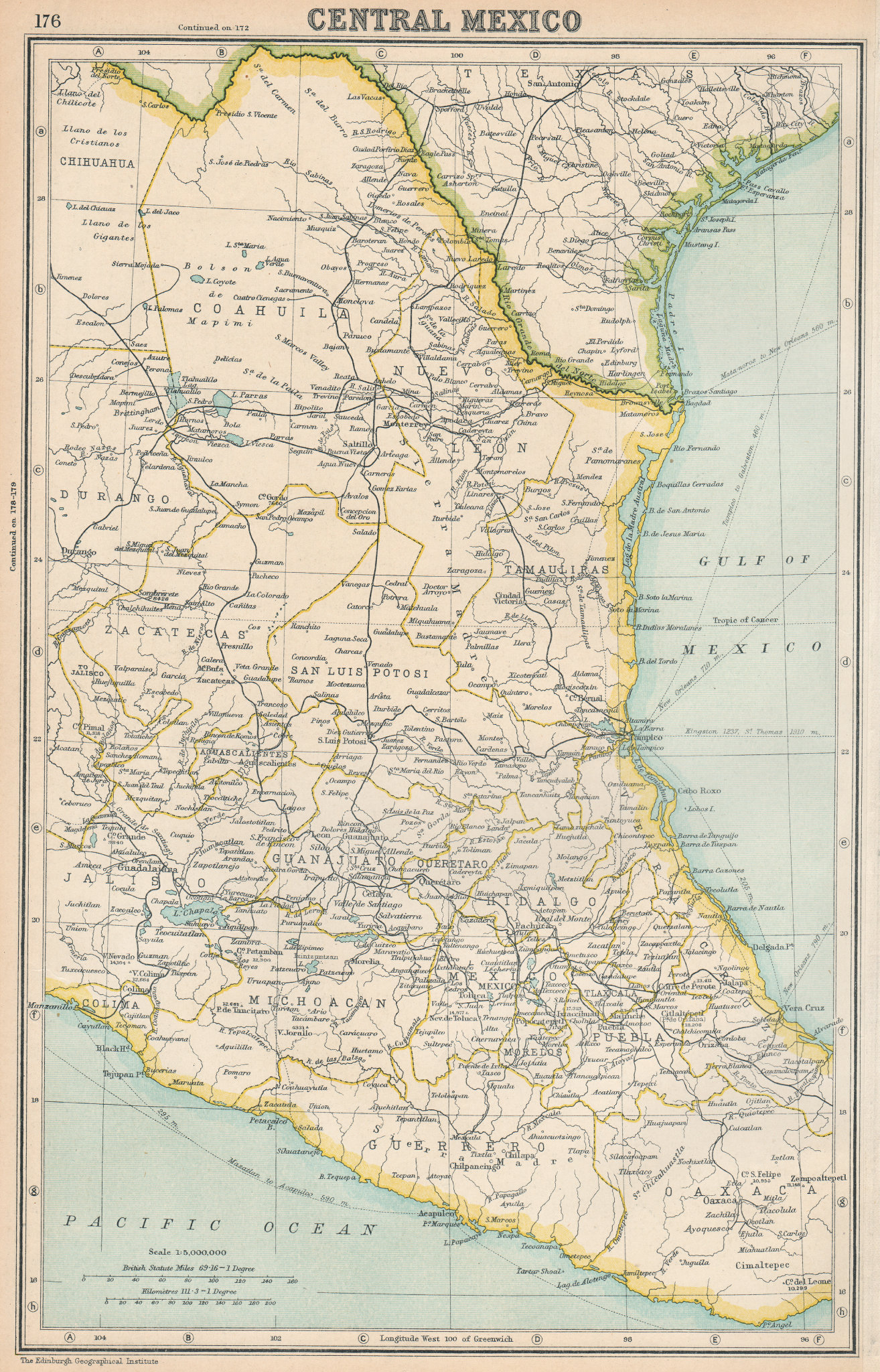 Associate Product MEXICO. Central Mexico showing states. BARTHOLOMEW 1924 old vintage map chart
