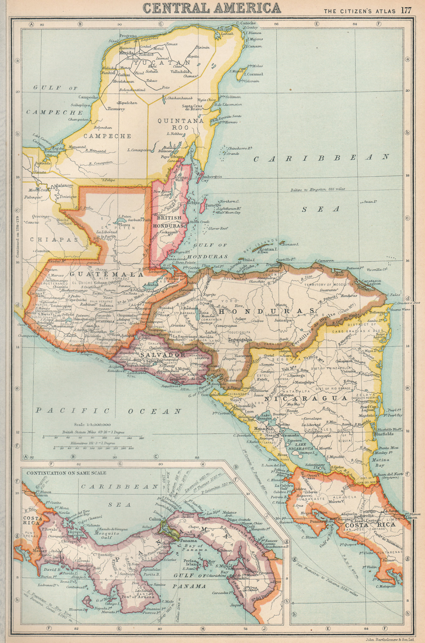 Associate Product CENTRAL AMERICA. US Panama canal zone ownership shown. BARTHOLOMEW 1924 map