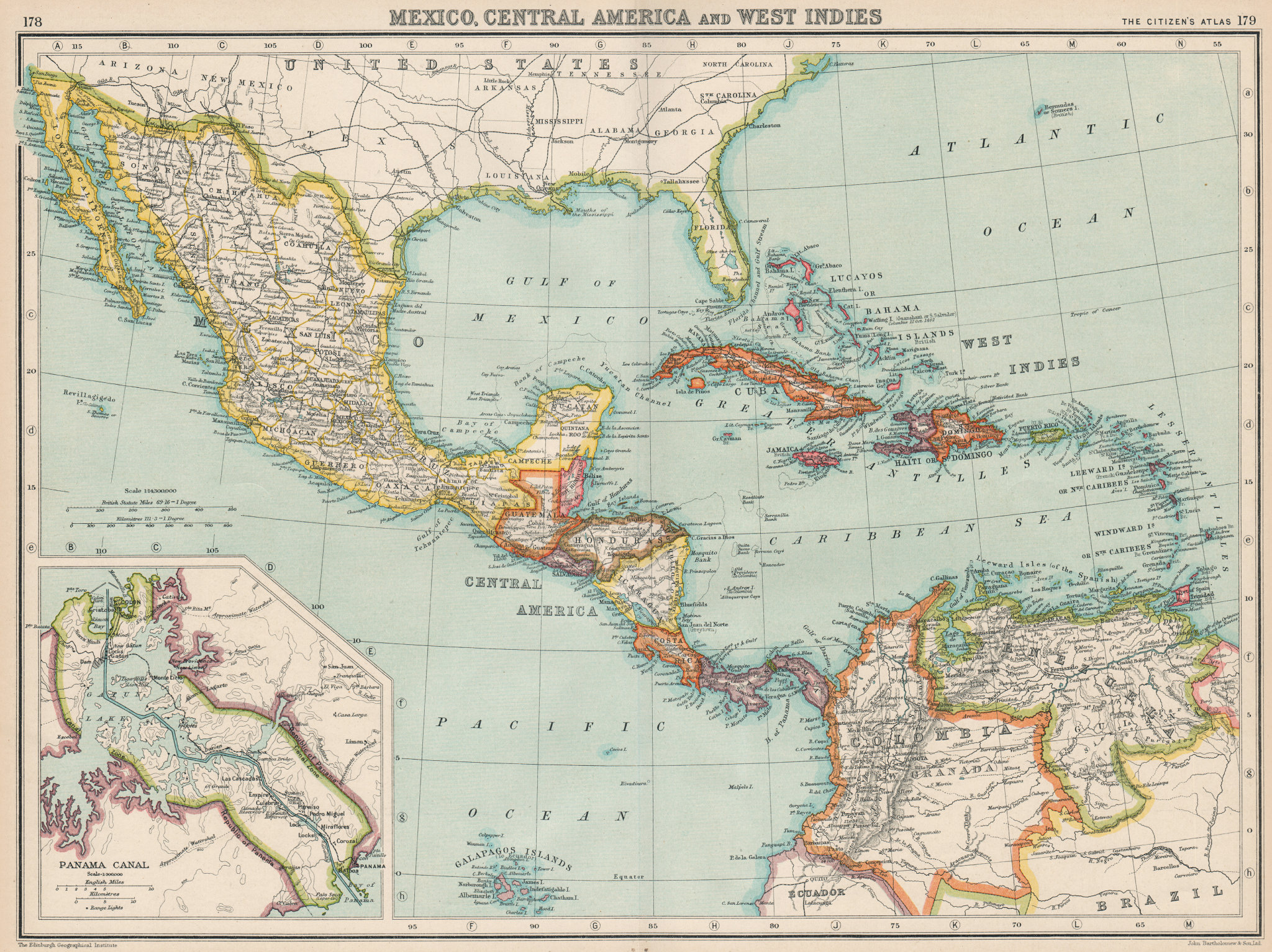 Associate Product CENTRAL AMERICA. Gulf of Mexico Caribbean. Panama Canal. BARTHOLOMEW 1924 map