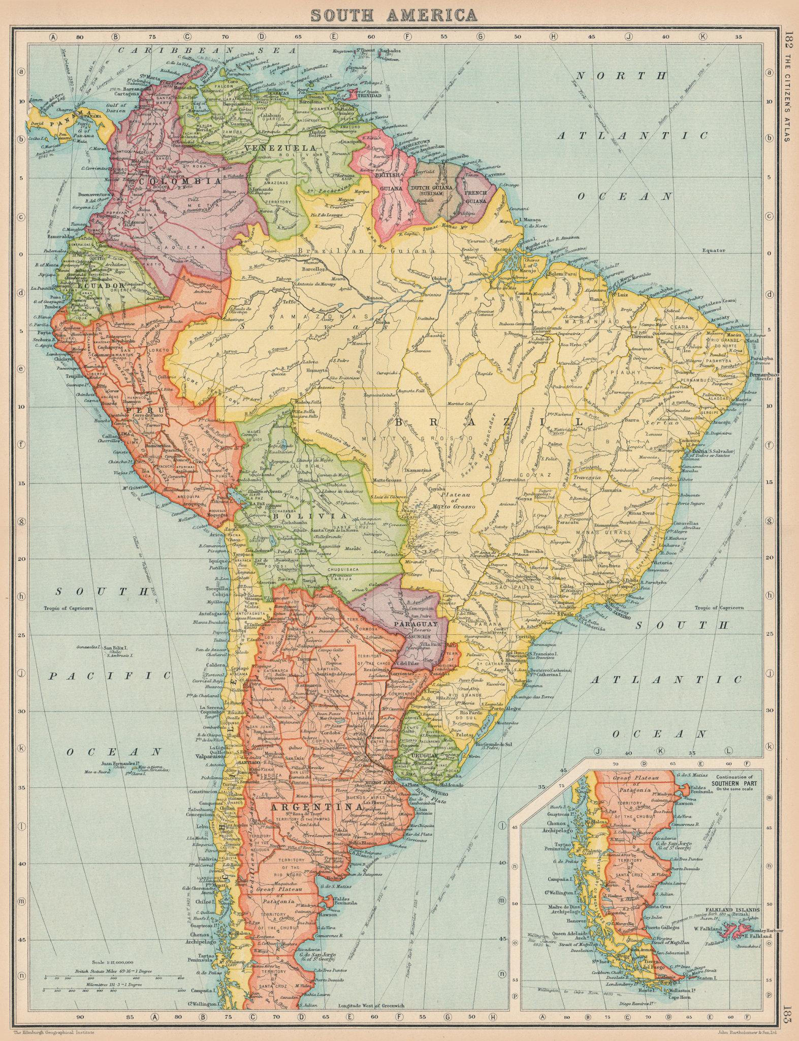 SOUTH AMERICA. Political. BARTHOLOMEW 1924 old vintage map plan chart