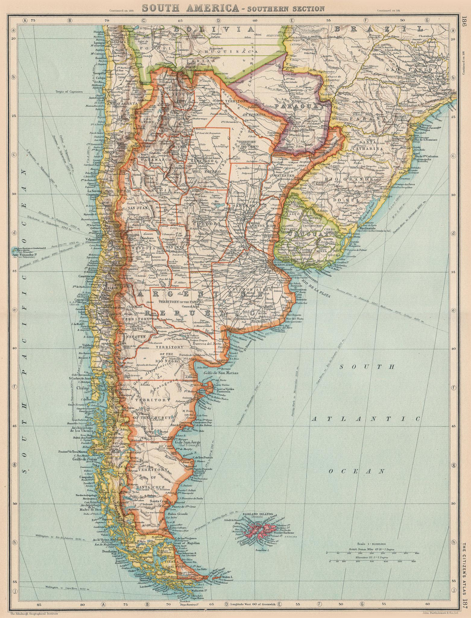 Associate Product ARGENTINA. + Paraguay Uruguay & Southern Chile. BARTHOLOMEW 1924 old map