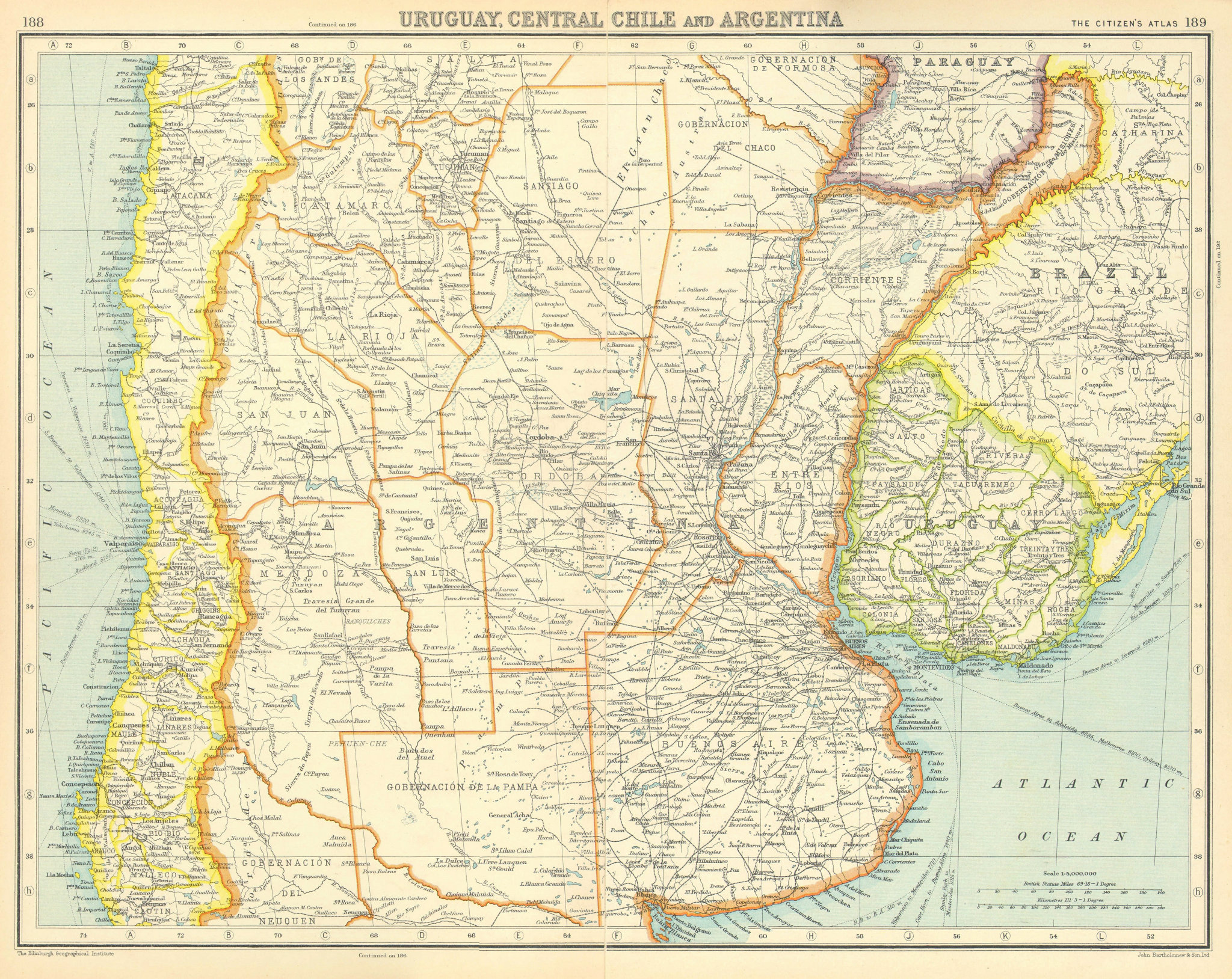 Associate Product SOUTH AMERICA. Uruguay, Central Chile and Argentina. BARTHOLOMEW 1924 old map