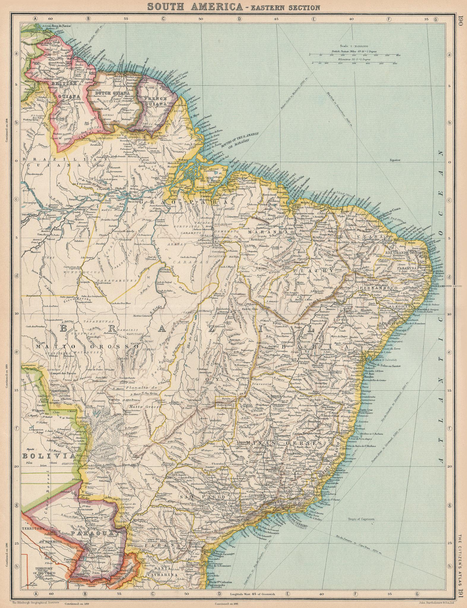 Associate Product S AMERICA-EAST.Brazil Paraguay British French Dutch Guyana.BARTHOLOMEW 1924 map