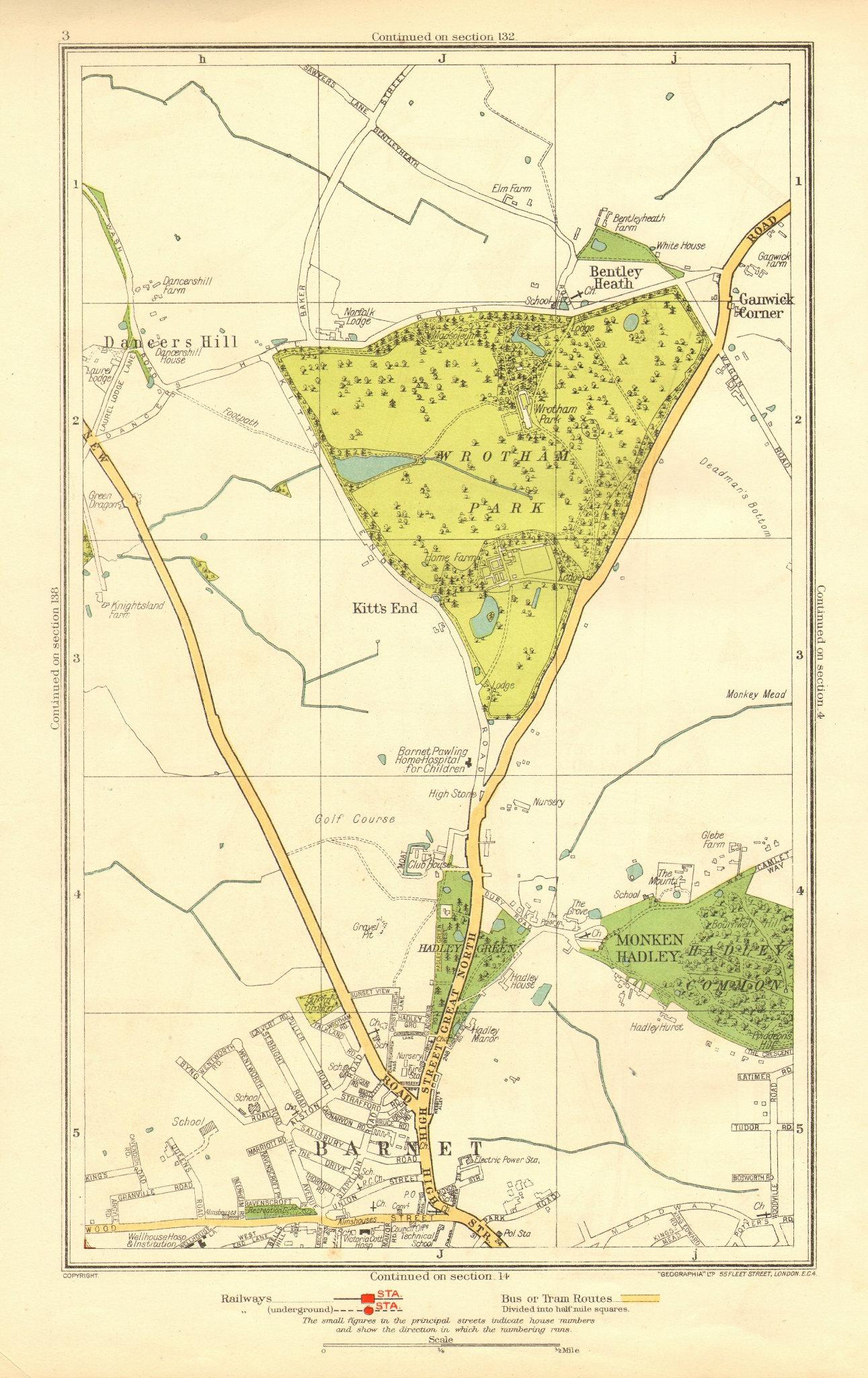 BARNET. Monken Hadley Wrotham Park Kitts End Dancer's Hill Ganwick Cnr 1937 map